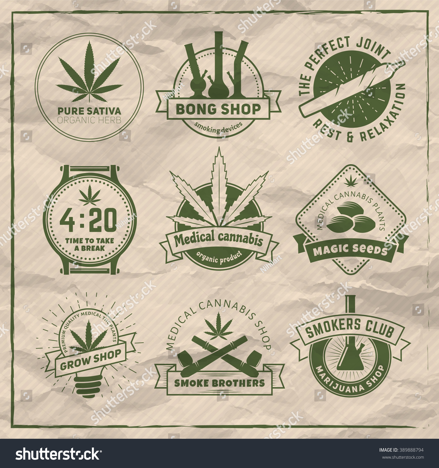 Set of vector marijuana smoking badges Medical cannabis labels on vintage paper background