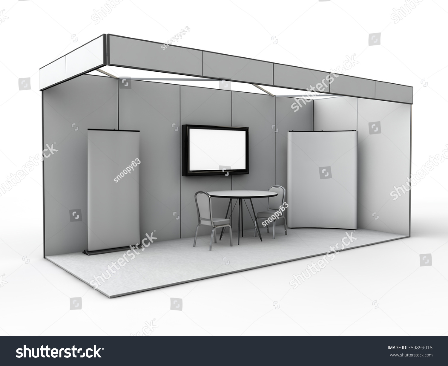 Free Pop Up Exhibition Stand Mockup : Exhibition stand mock d render stock illustration