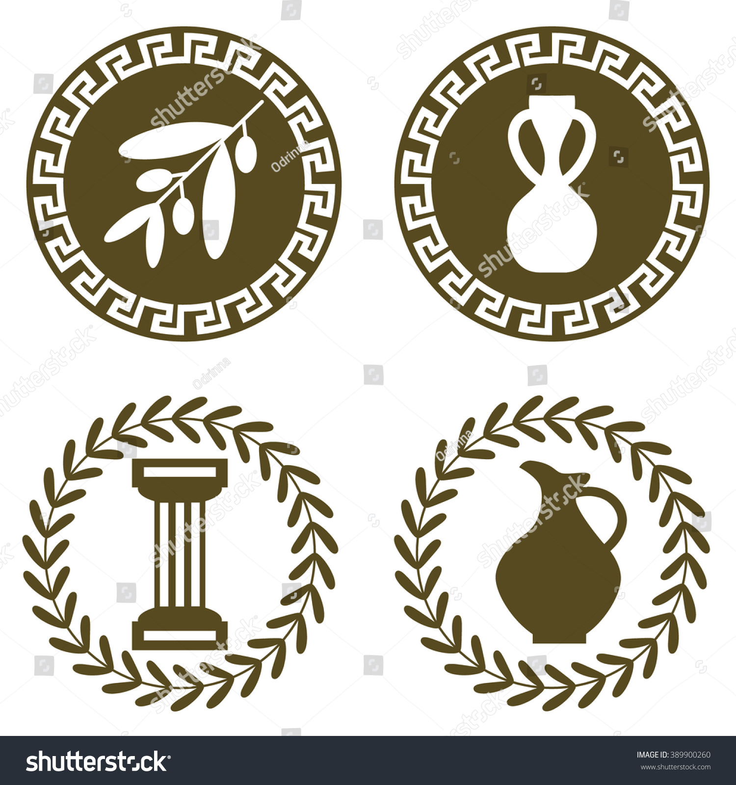 Set ancient logos olive branch amphora stock vector 389900260 set of ancient logos with olive branch amphora jug and doric column the biocorpaavc