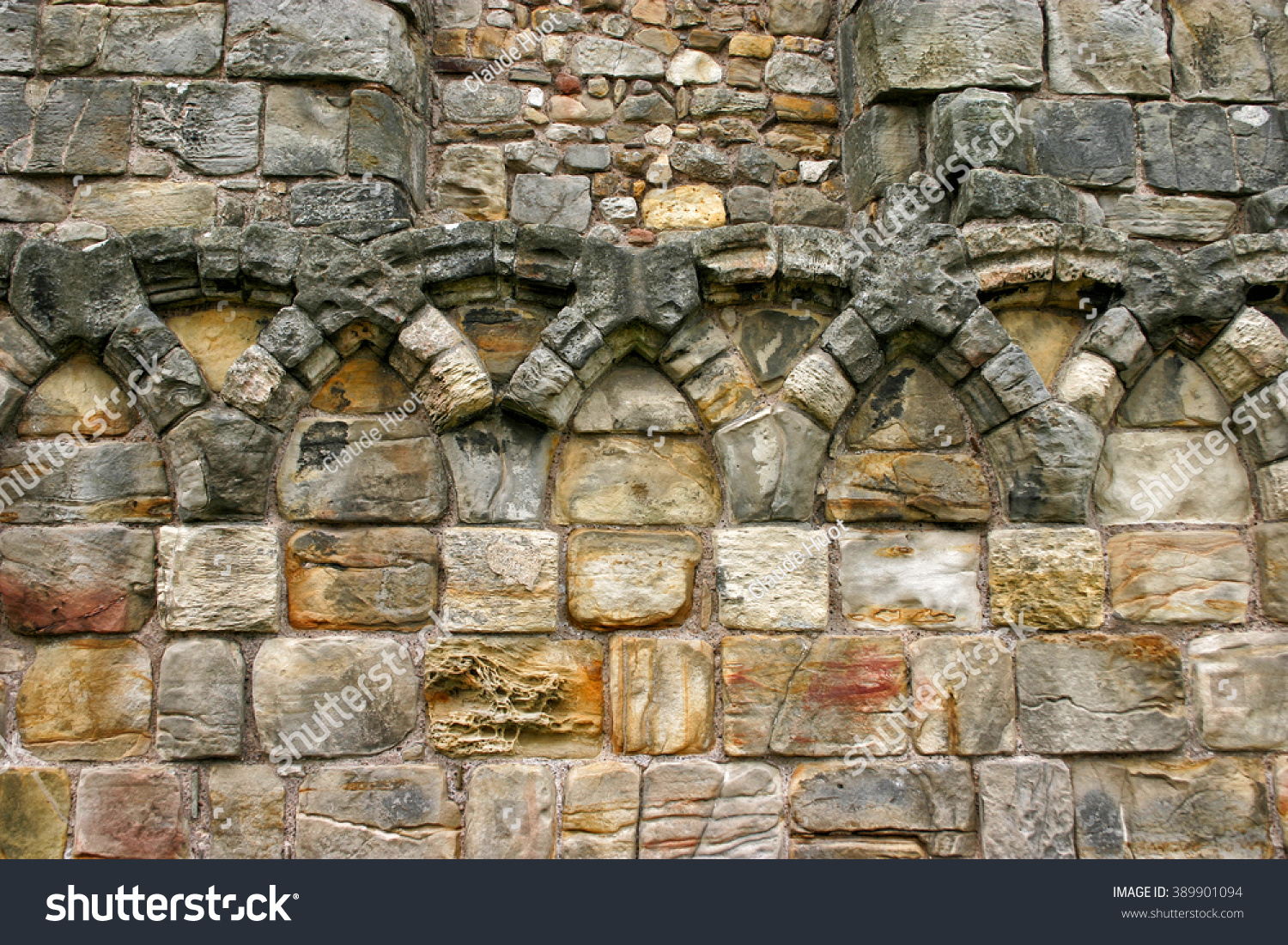Part of a stone wall at the ruins of Saint Andrews cathedral, a ruined Roman Catholic cathedral in St Andrews, Scotland