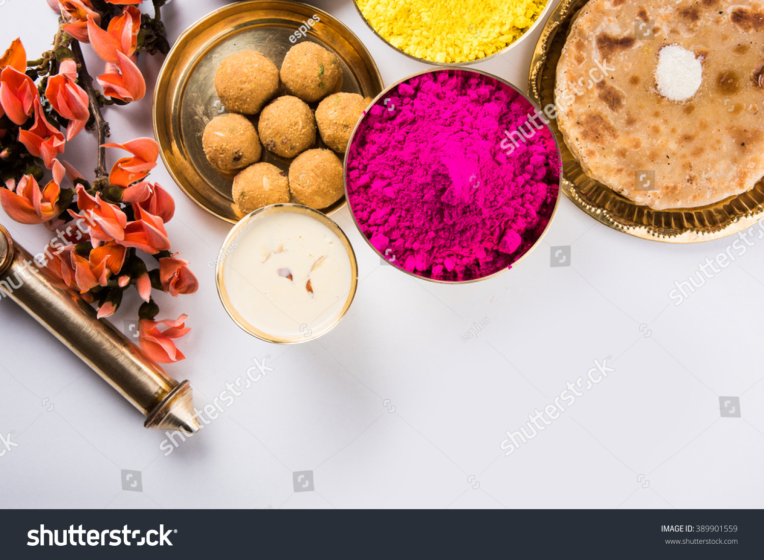 Happy holi greeting card designed showing stock photo image happy holi greeting card designed showing indian traditional sweet and salty food flowers and powder forumfinder Images