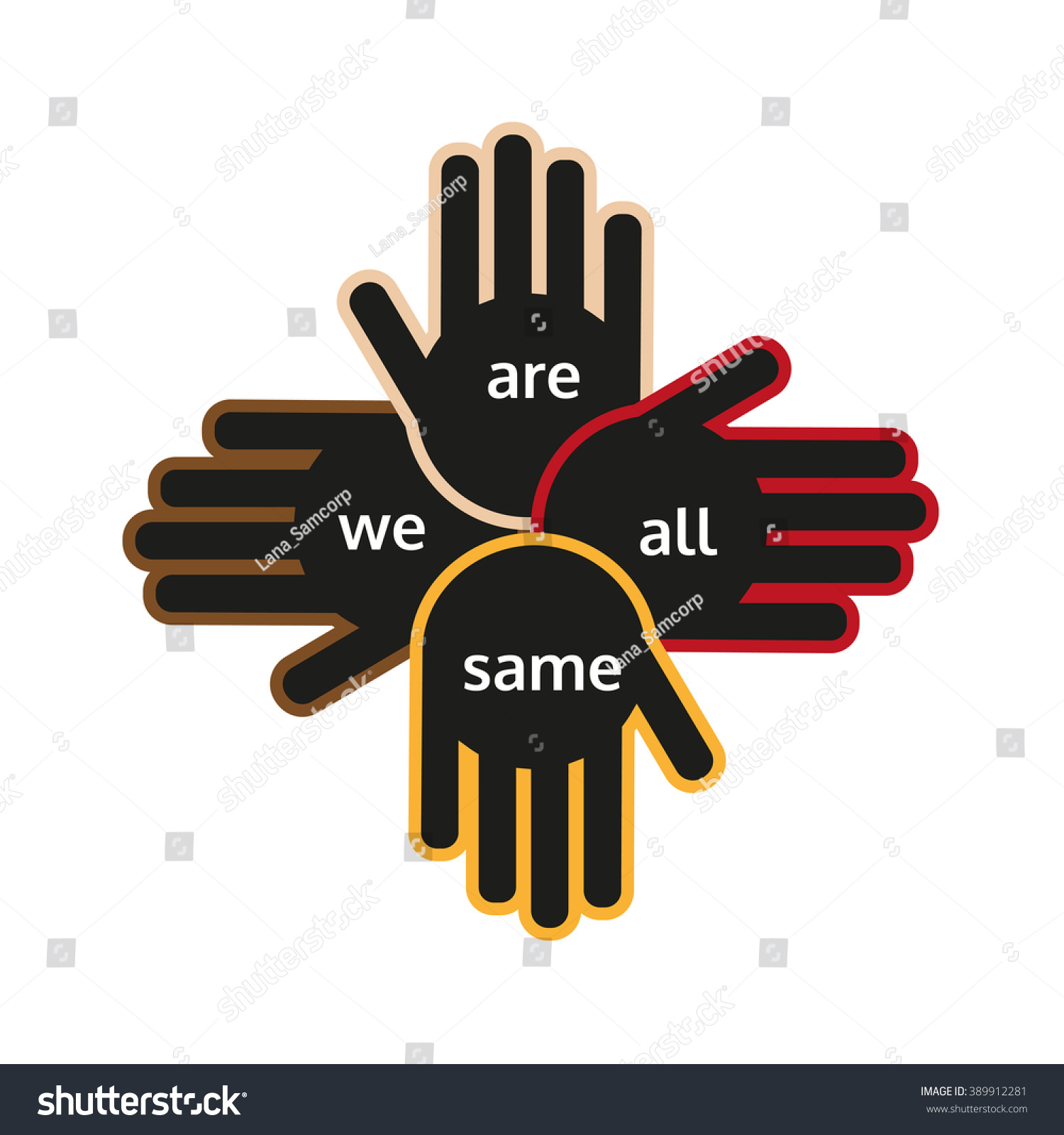 Multinational Unity Peace Symbol Hands Different Stock Vector