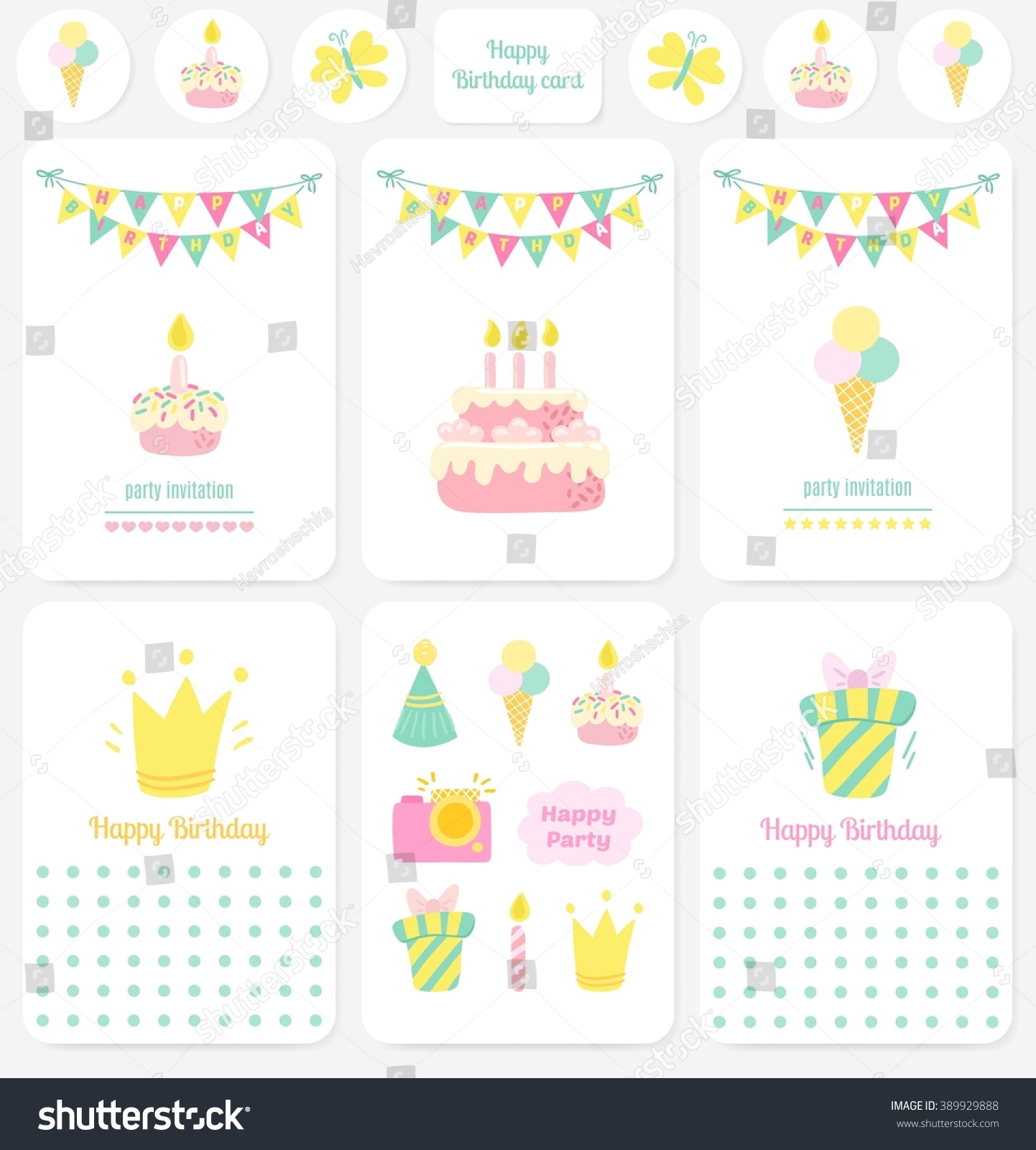 Happy Birthday Cards Notes Stickers Tags Party Birthday Vector – Birthday Cards Notes