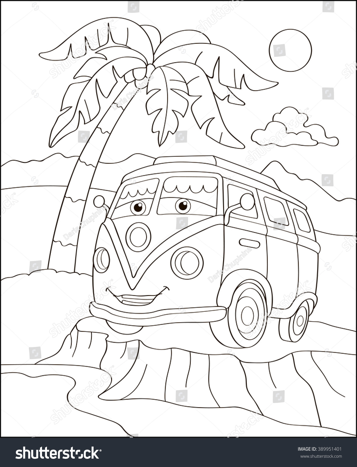 Cute Sport Car On The Beach Coloring Page Illustration Book Outdoor Theme