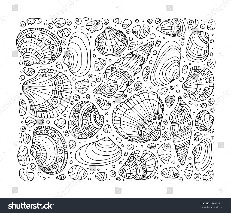 Seashell Pattern Art Background Vector Illustration Stock Vector