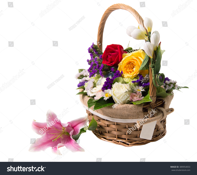Beautiful flowers basket isolated on white stock photo royalty free beautiful flowers basket isolated on white stock photo royalty free 389954053 shutterstock izmirmasajfo