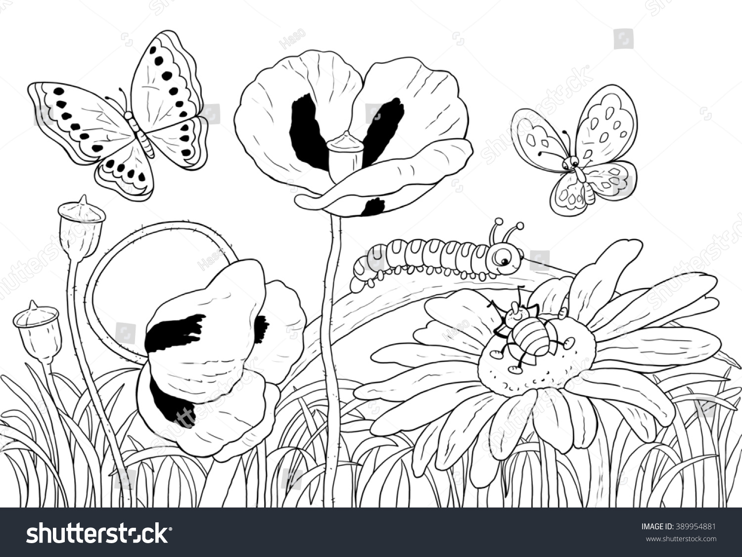green grass flowers insects cute butterflies stock illustration