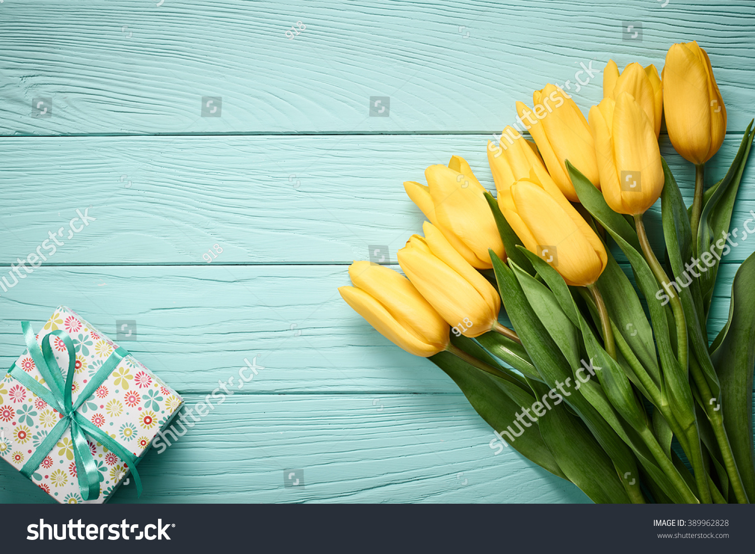 Mothers Day Background Tulips Bouquet Gift Stock Photo (Edit Now ...
