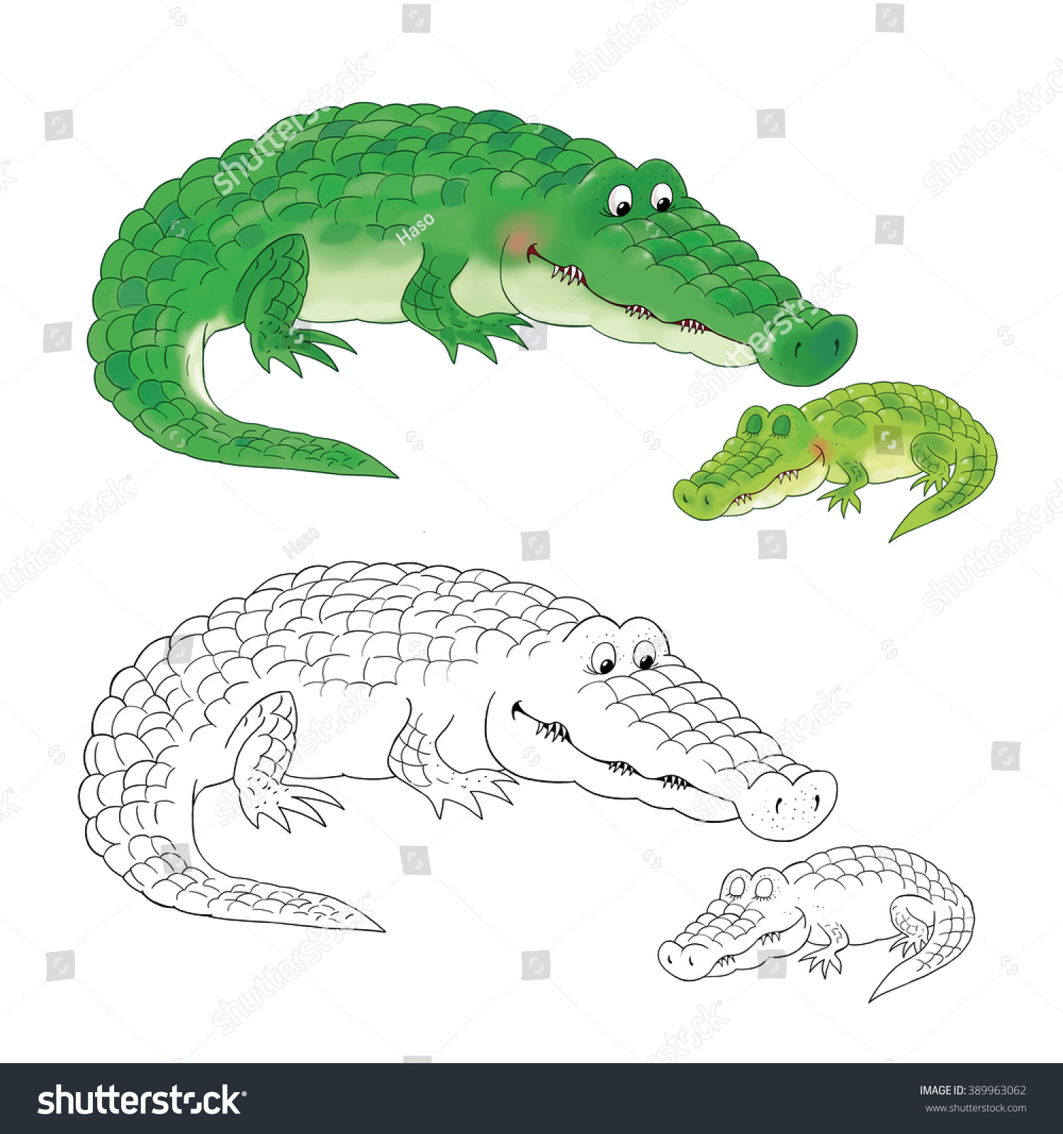 Zoo Cute African Animals Mother Crocodile Stock Illustration ...
