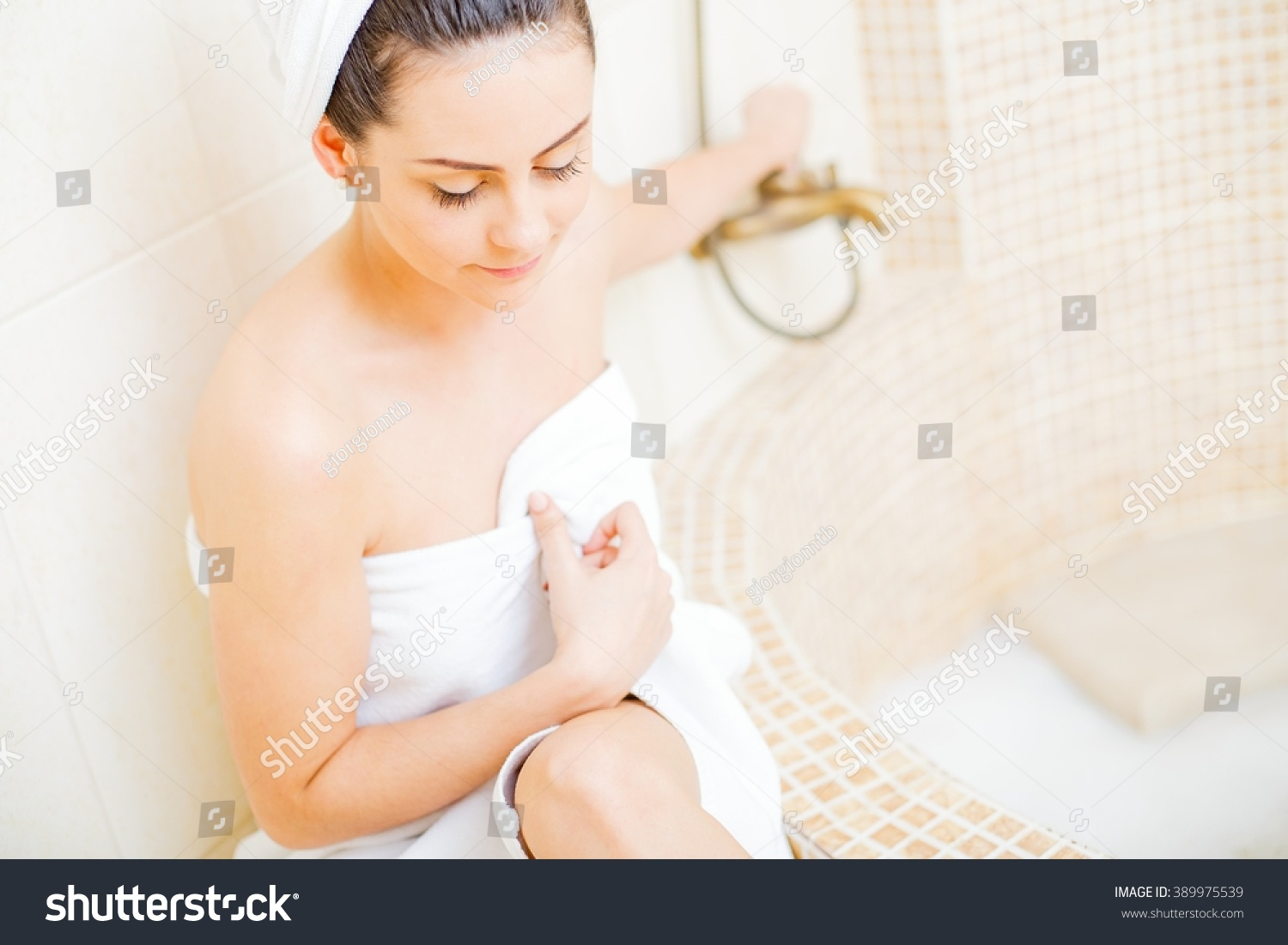 Hot girl bathroom white towel stock photo 389975539 for Bathroom hot images