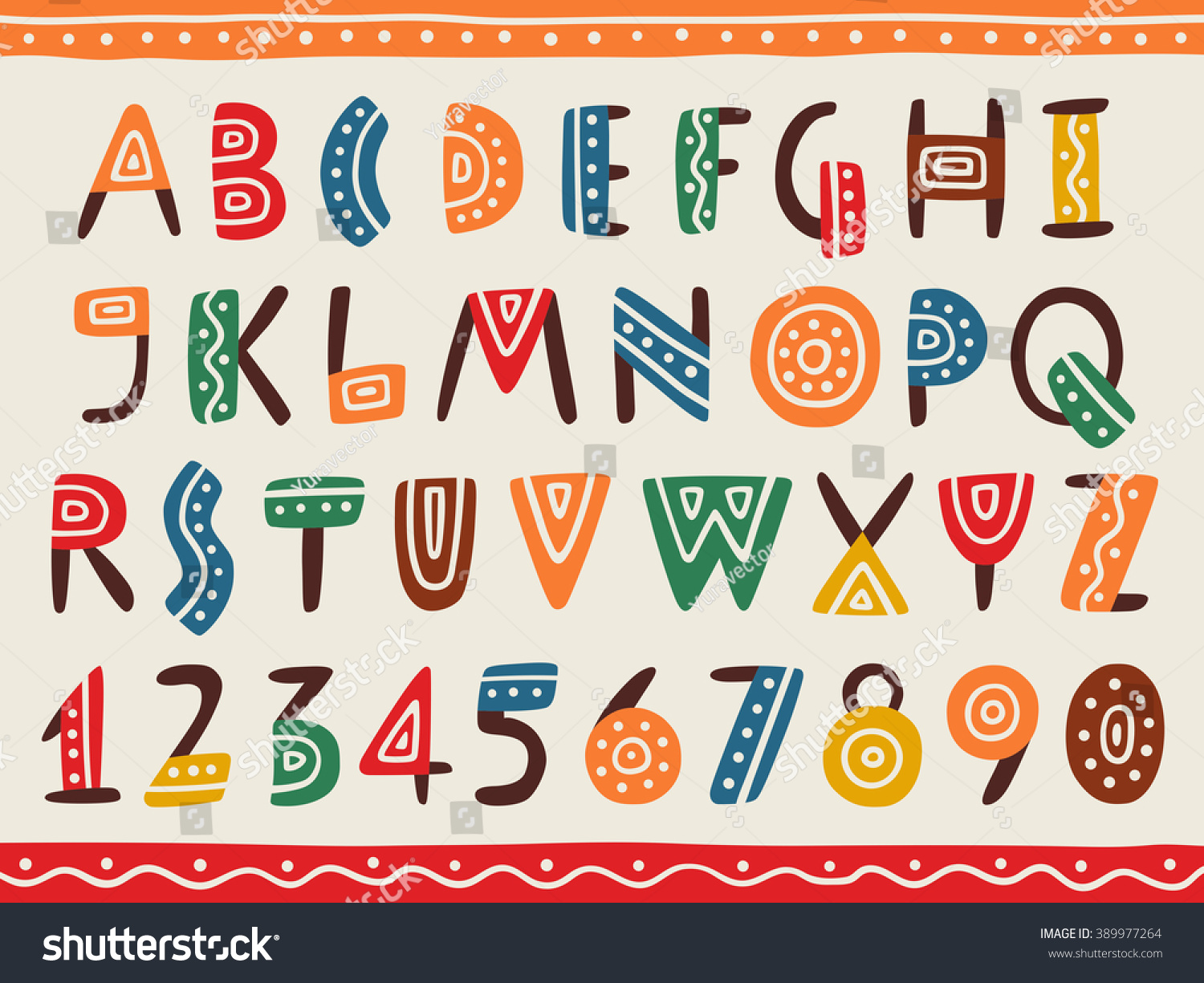 Tribal ethnic bright alphabet and number Hand drawn graphic font in ...