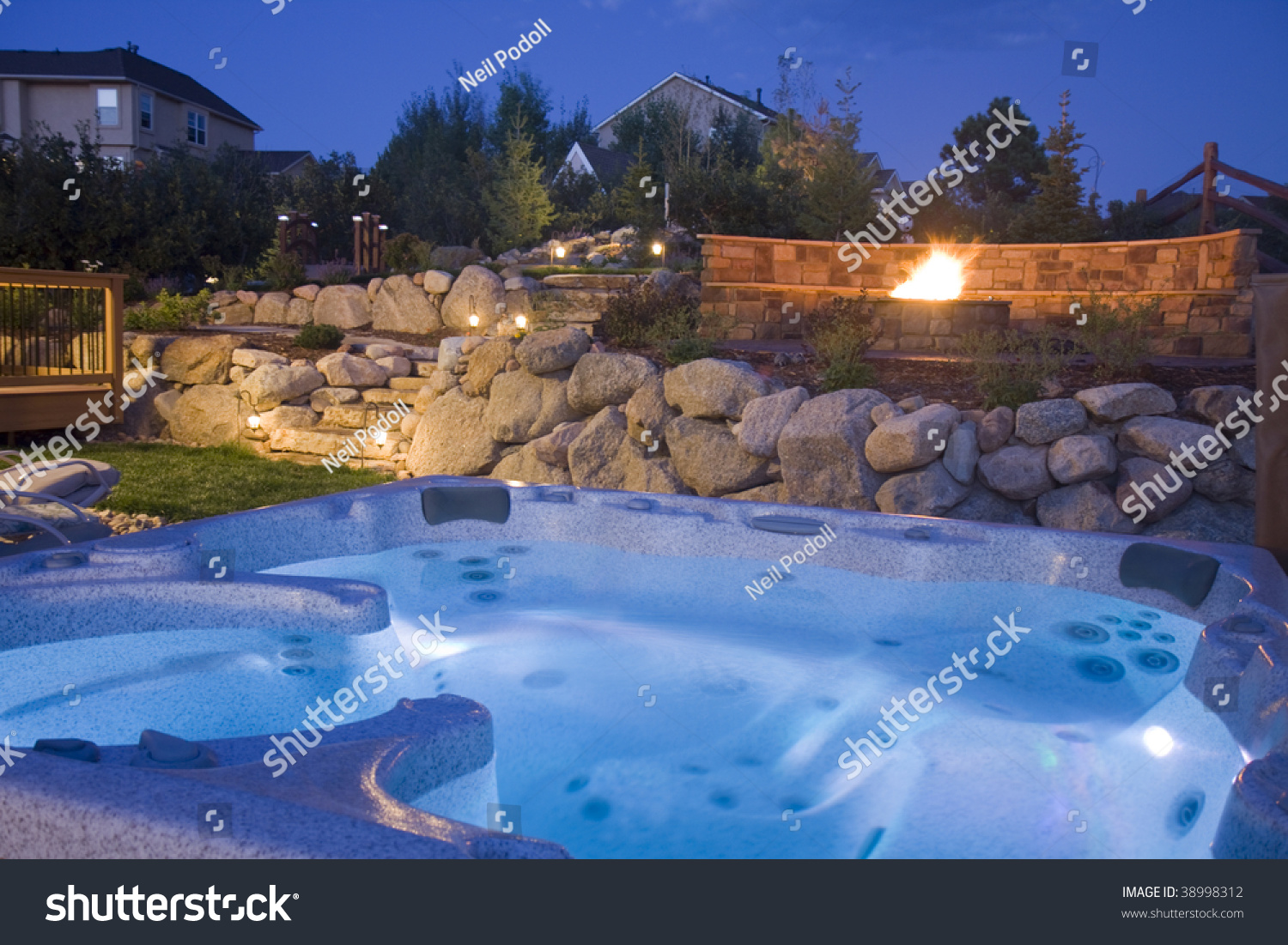 Awesome Backyard Hot Tub Fire Pit Stock Photo & Image (Royalty-Free ...