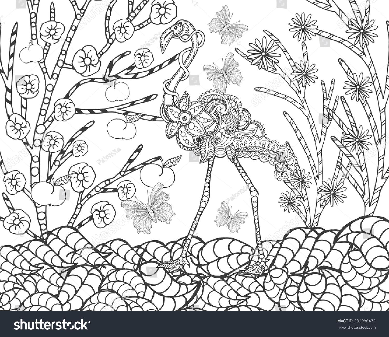 flamingo flower garden animals hand drawn stock vector