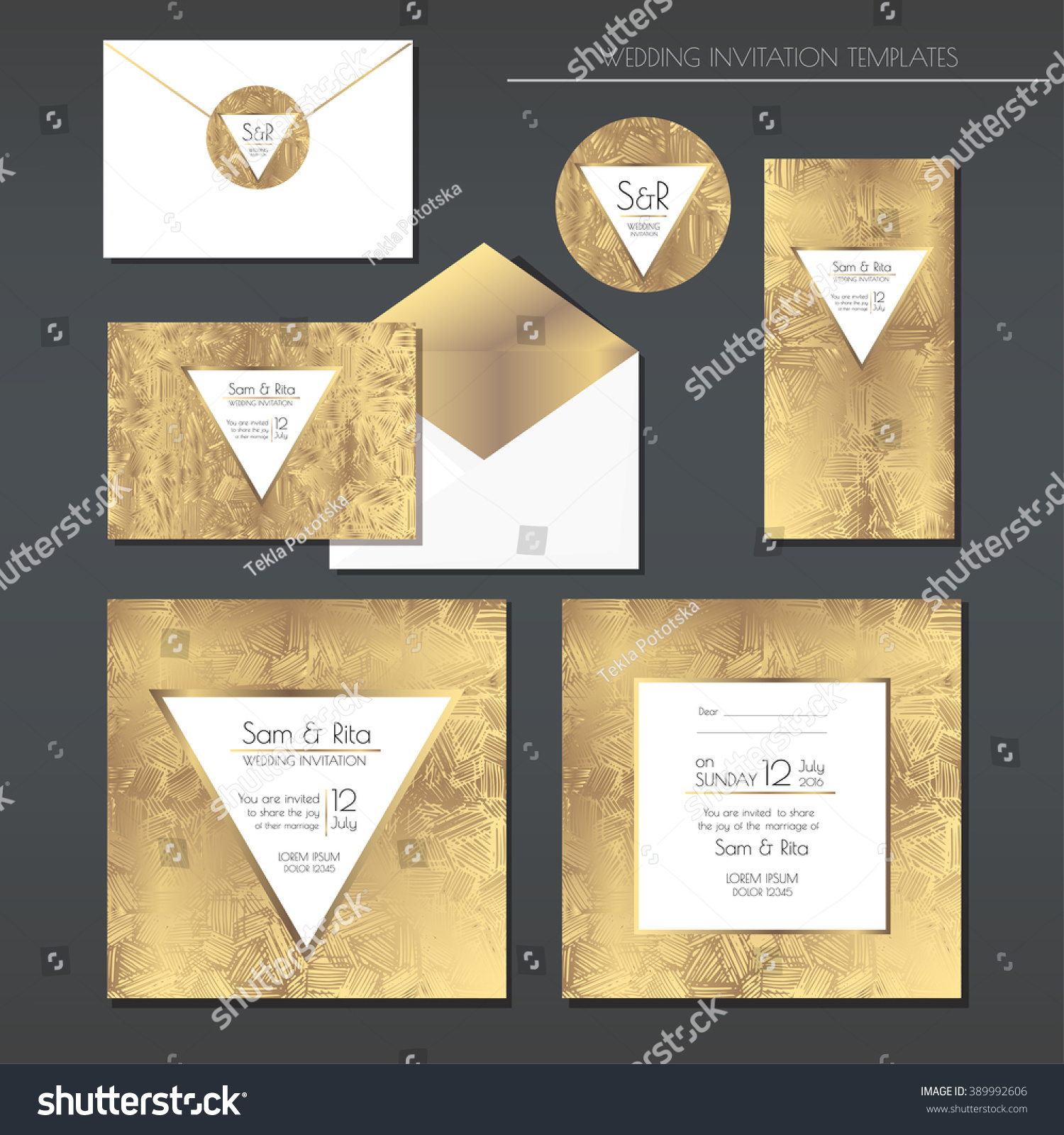 set of gold and white wedding cards wedding invitations envelope sticker eps - Gold And White Wedding Invitations