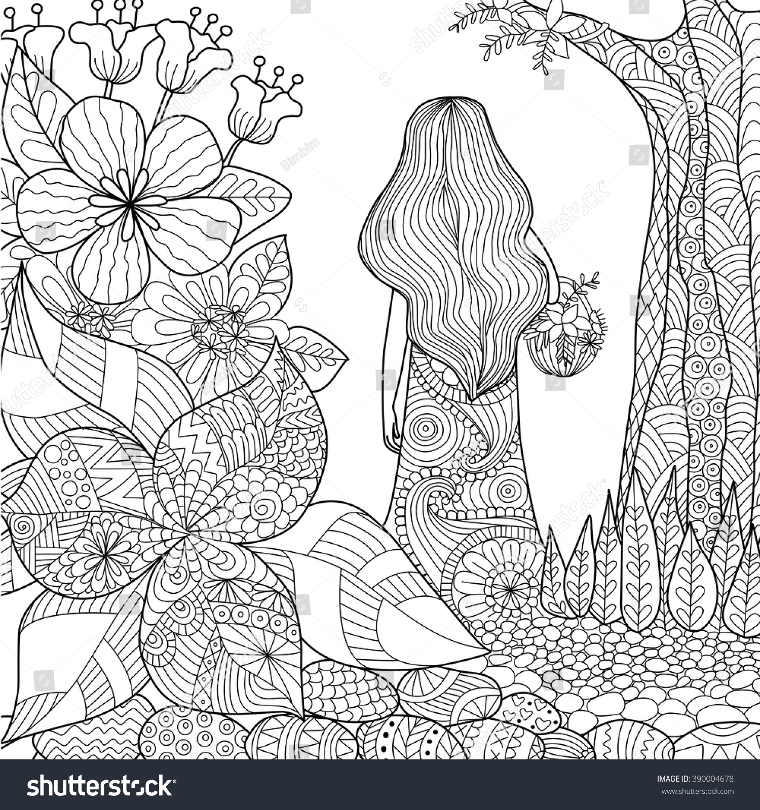 Line Art Book : Girl garden whimsical line art coloring stock vector