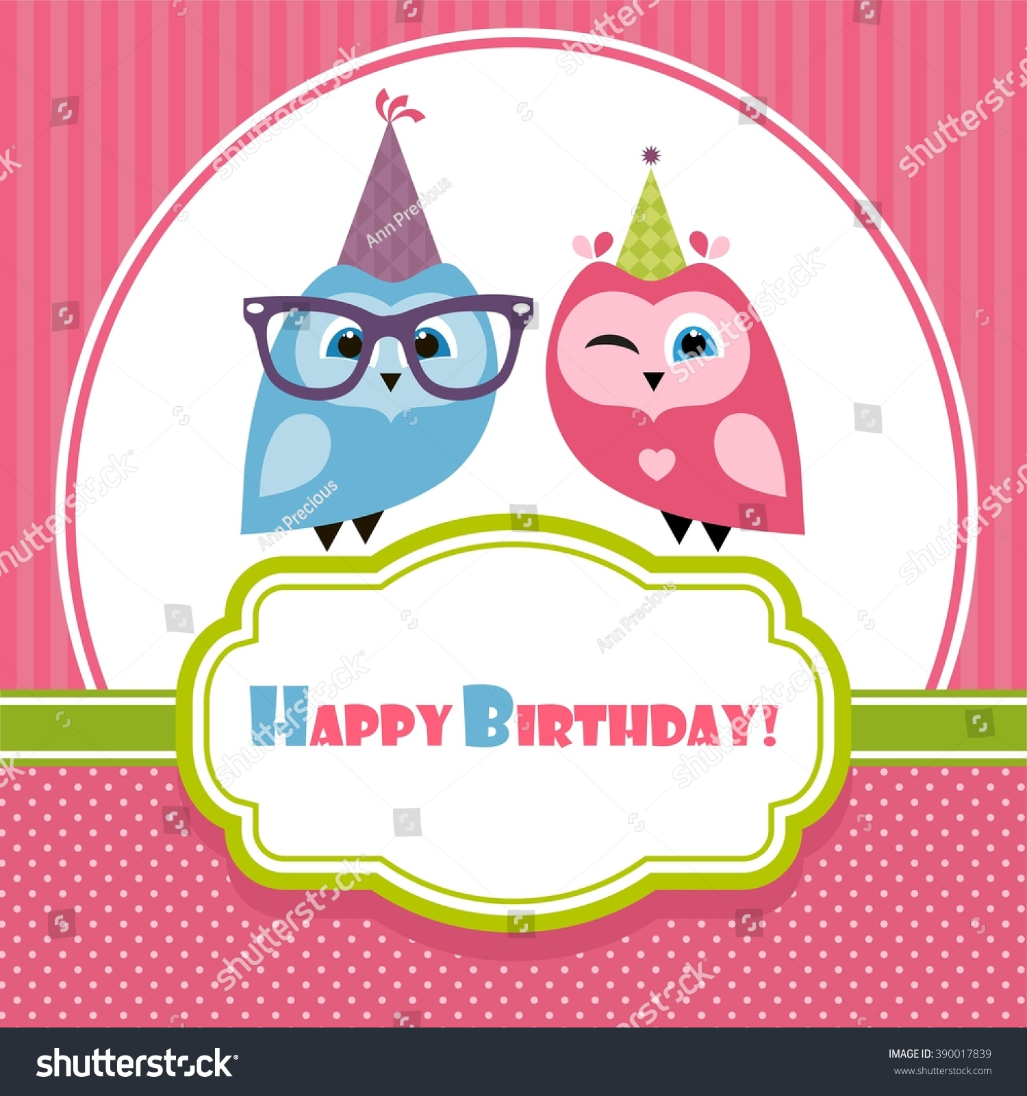 Birthday Card Two Owls Stock Vector Shutterstock