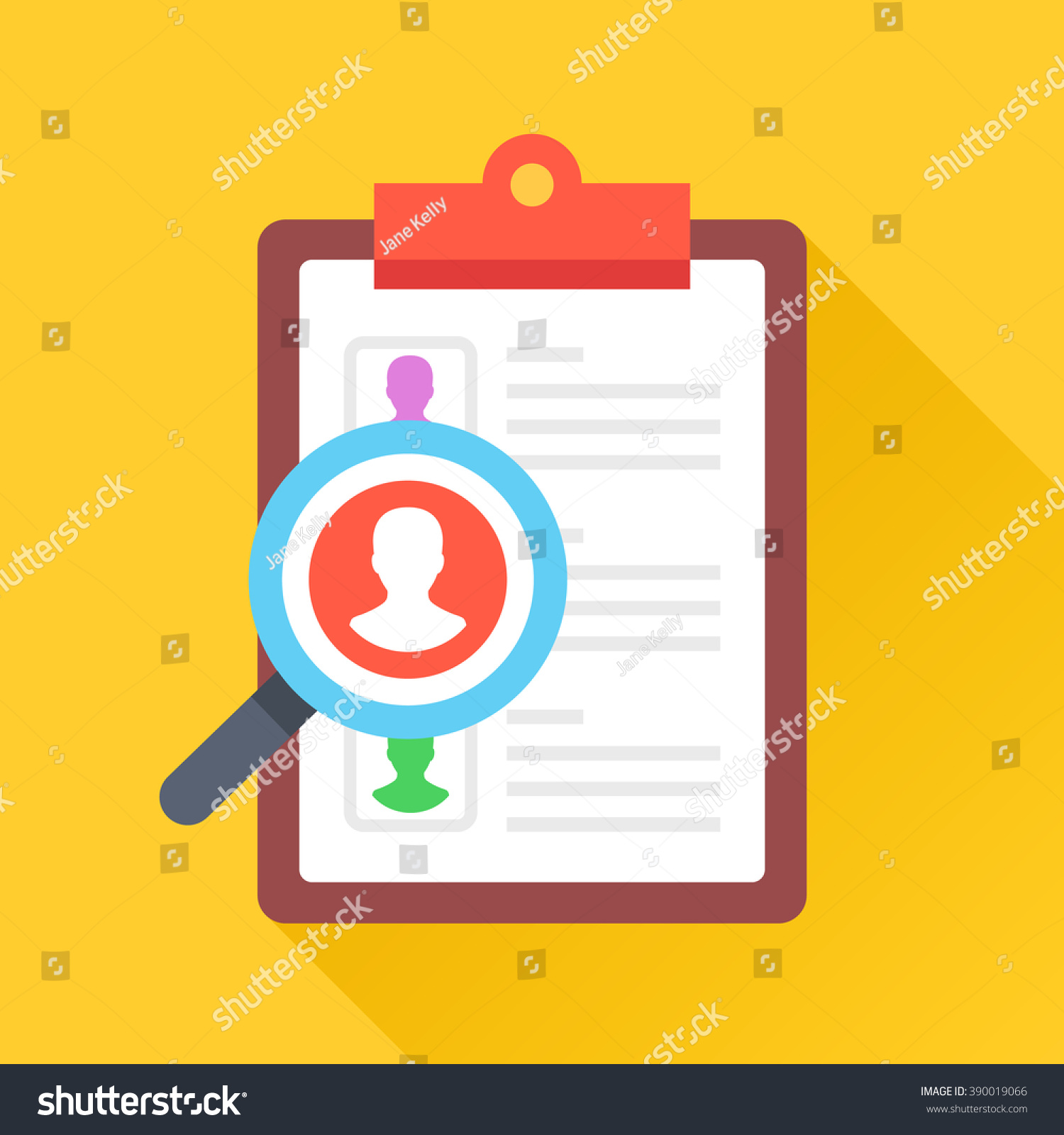 Clipboard and magnifying glass with man silhouette Human resources employee seeking employment recruiting concepts Flat design vector icon with long shadow isolated on yellow background