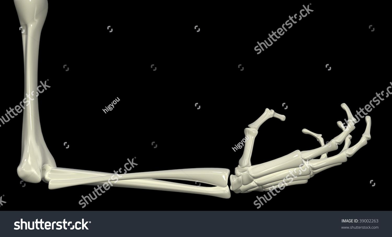 3 D Skeletal Arm Isolated Dark Background Stock Illustration