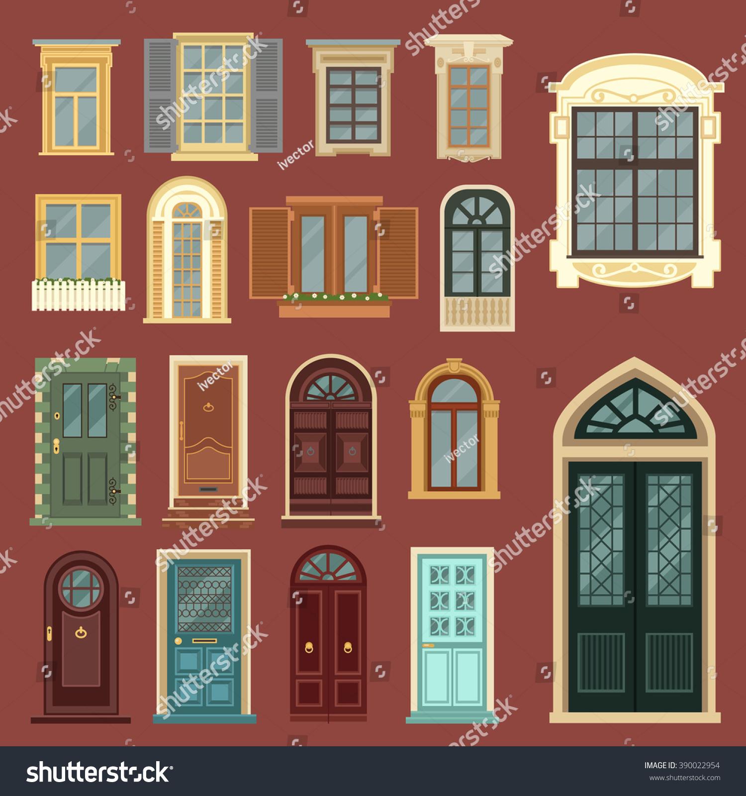 Vintage Doors Detailed Windows European Architecture Stock Vector - Building architectural windows