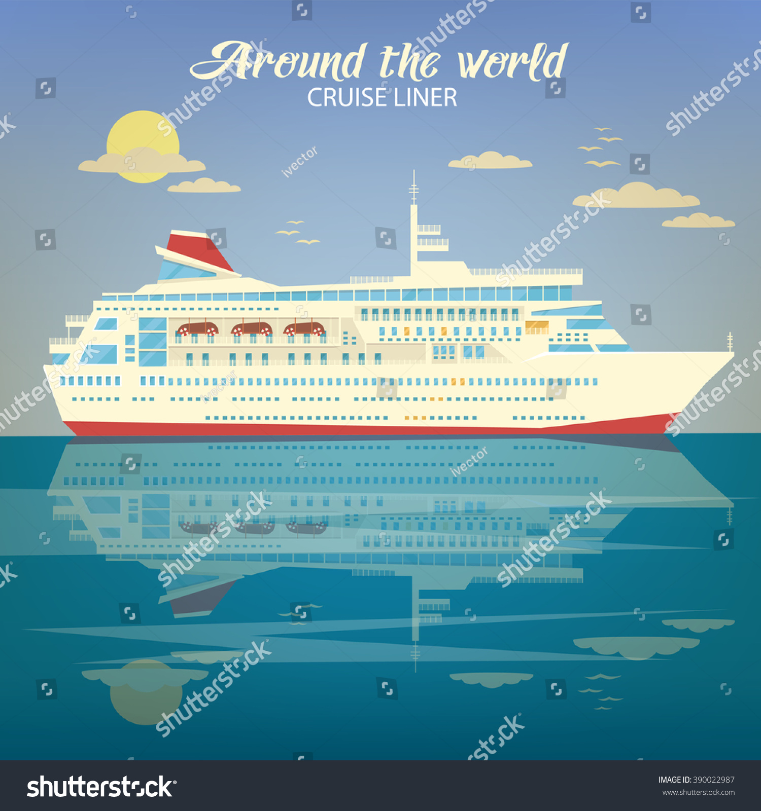 Around world travel industry cruise liner stock vector for Around the world cruise ship