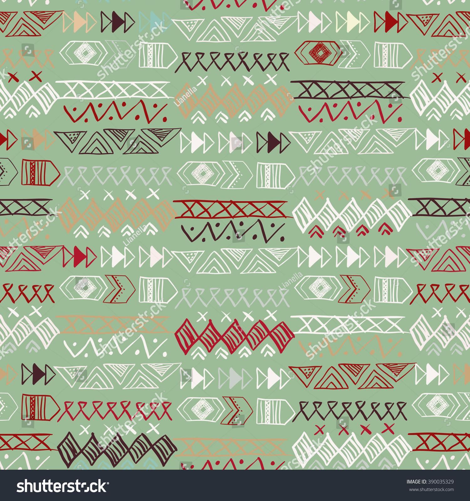 Native American Seamless Pattern Abstract Aztec Stock Illustration