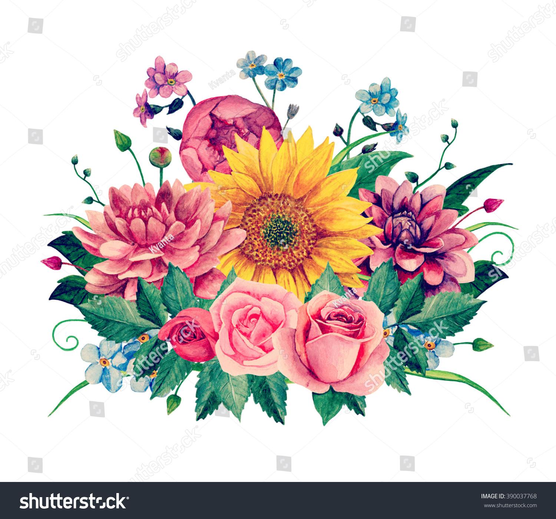 Watercolor Floral Bouquet Clipart Handpainted Flowers Stock ...