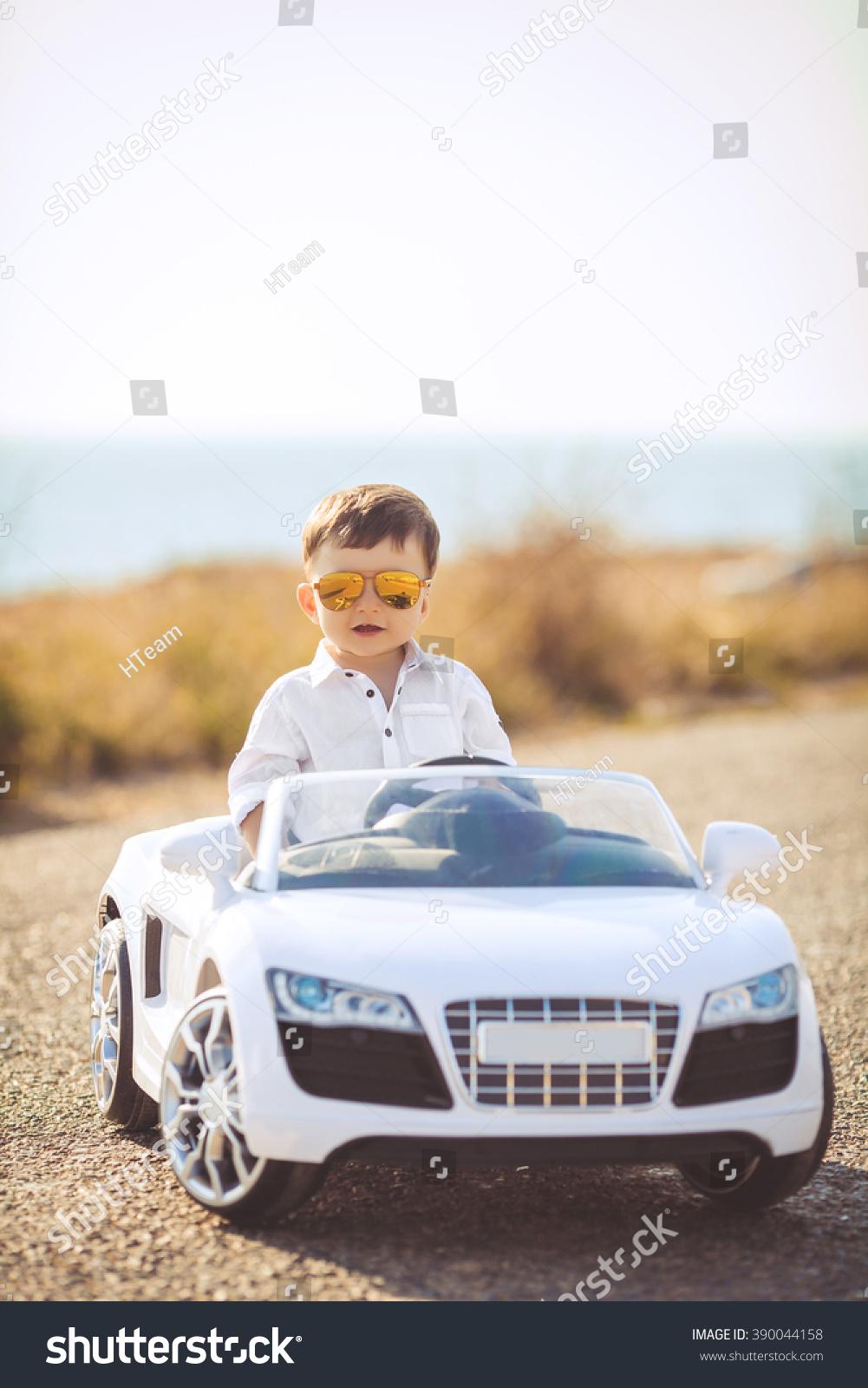 Funny Boy Car Driver Steering Wheel Stock Photo Edit Now 390044158