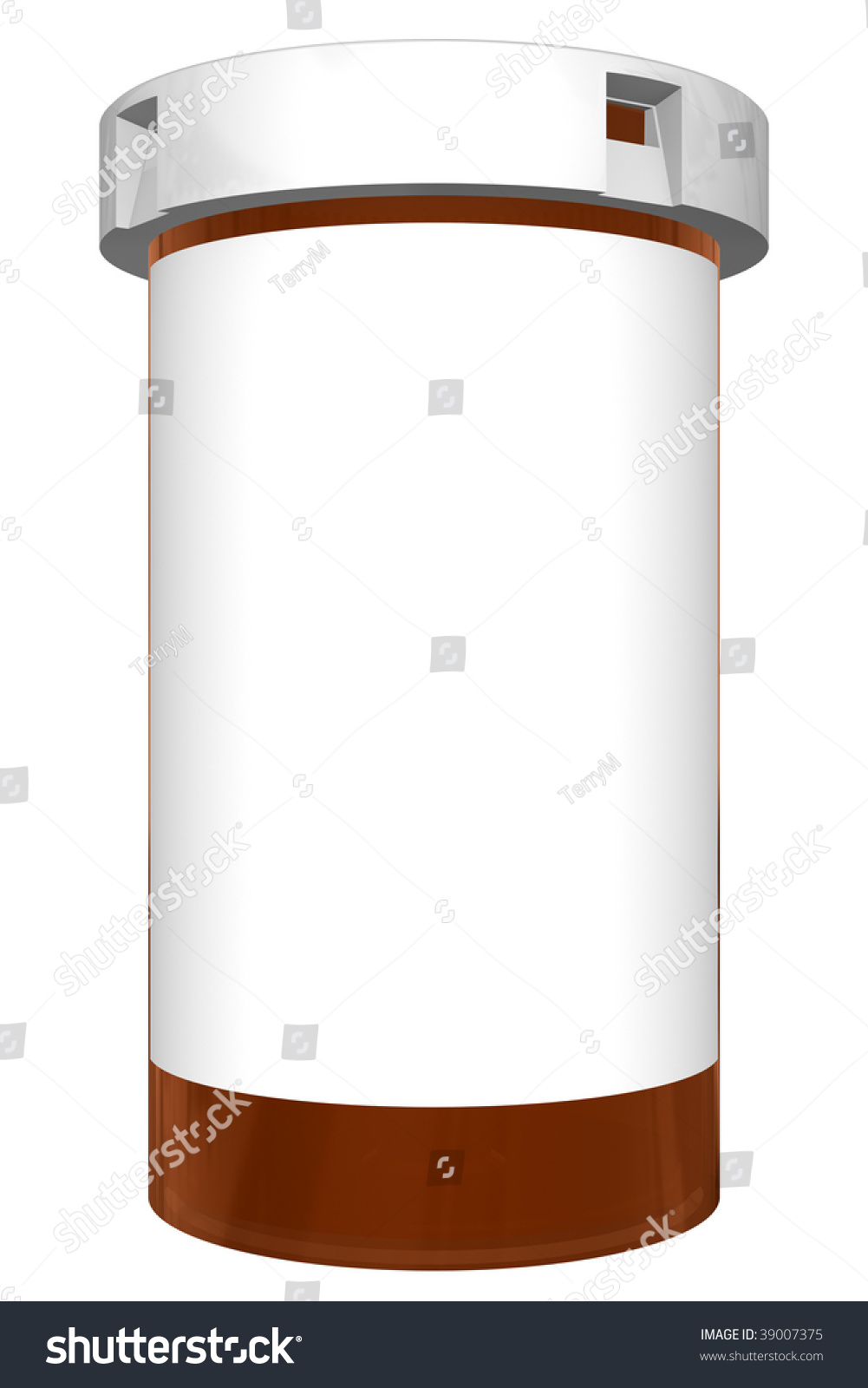 Prescription Pill Bottle Blank White Label Stock Illustration