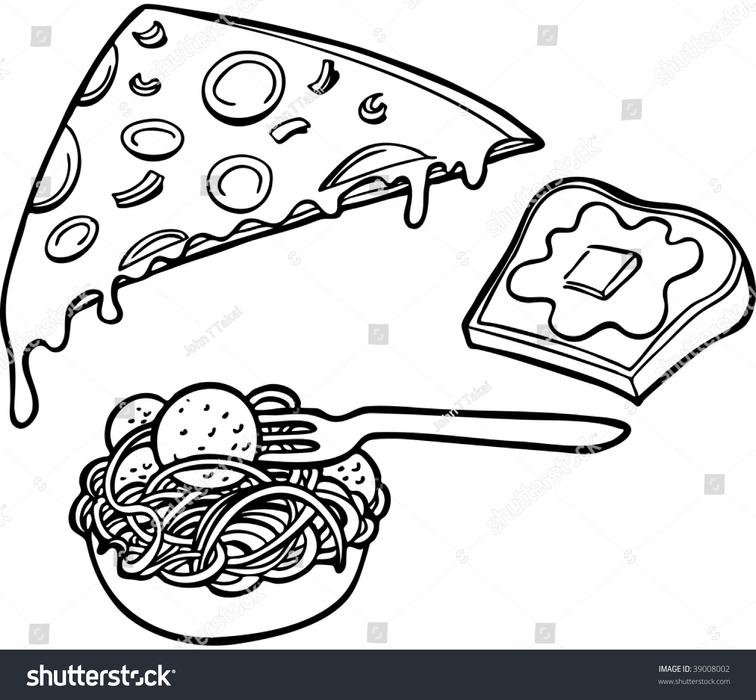 Line Art Food : Italian food items line art stock vector