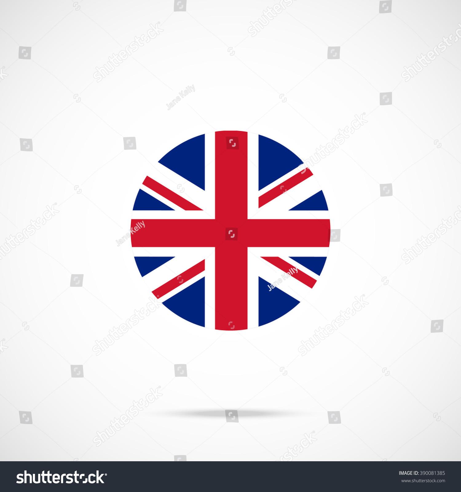 United Kingdom Flag Round Icon UK Stock Vector Royalty Free