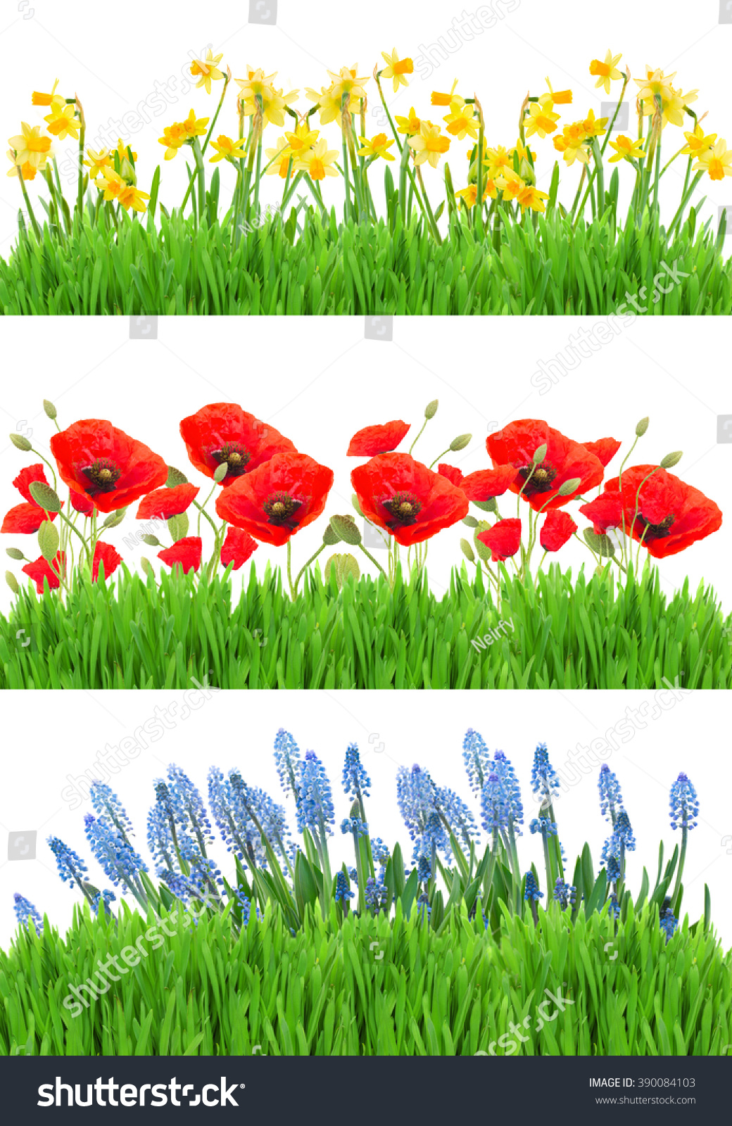Royalty Free Set Of Spring Flowers Borders With 390084103 Stock