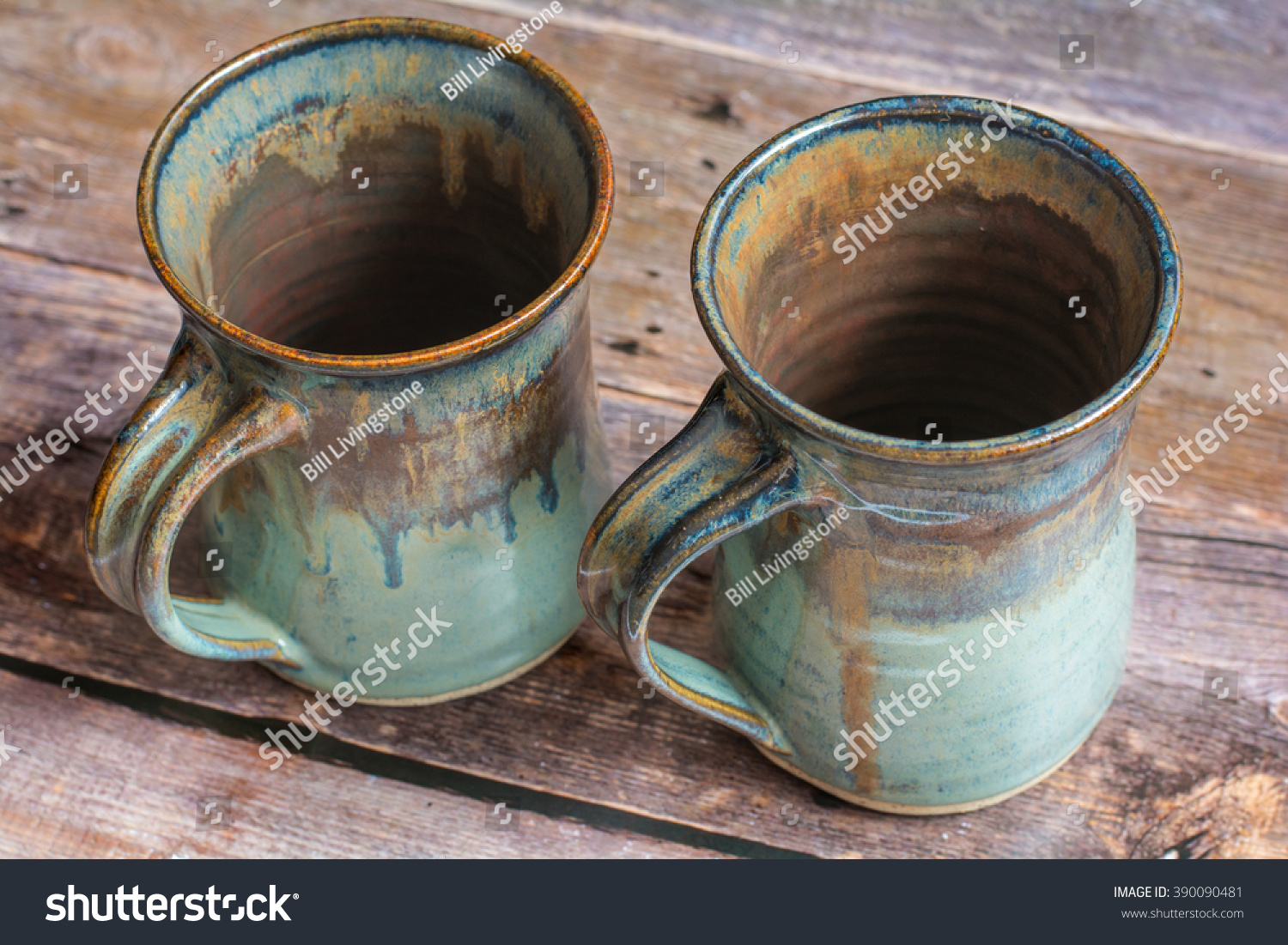 Two Rustic Clay Mugs On Old Stock Photo Edit Now 390090481
