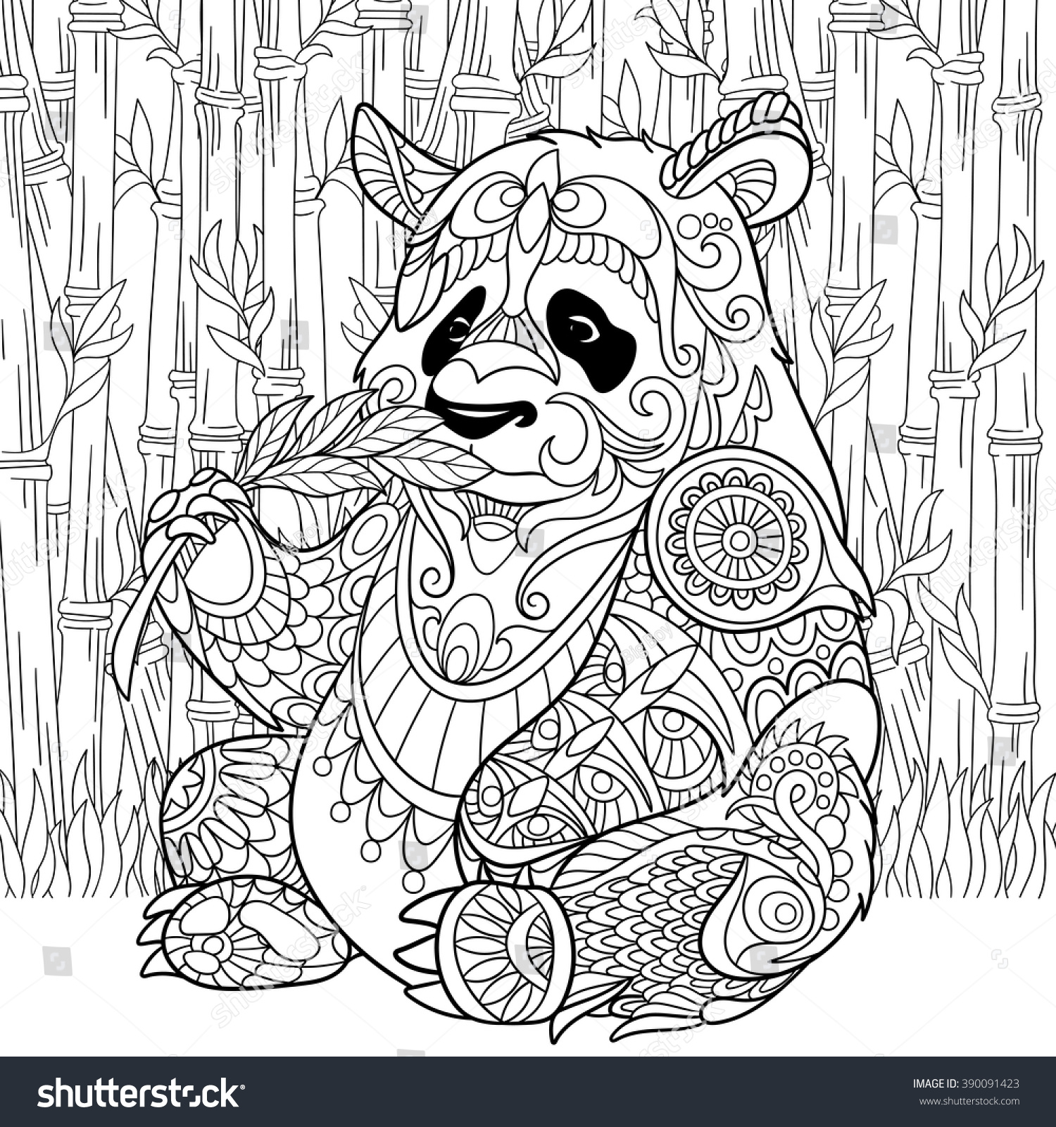 Stress coloring books for adults - Anti Stress Colouring Books For Adults Zentangle Stylized Cartoon Panda Sitting Among Bamboo Stems Sketch