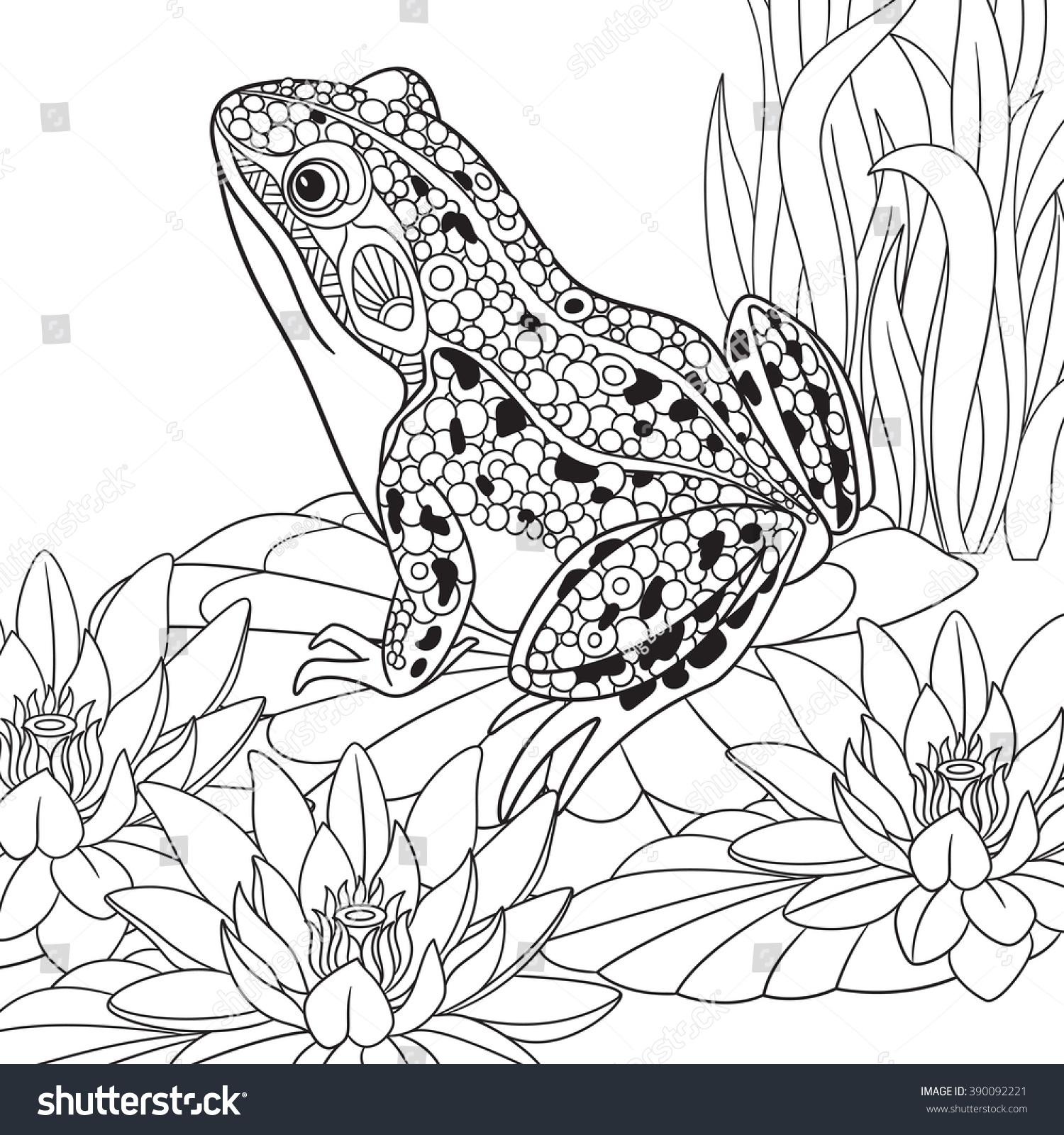 Lotus designs coloring book - Zentangle Stylized Cartoon Frog Sitting Among Lotus Flowers Water Lilies Sketch For Adult