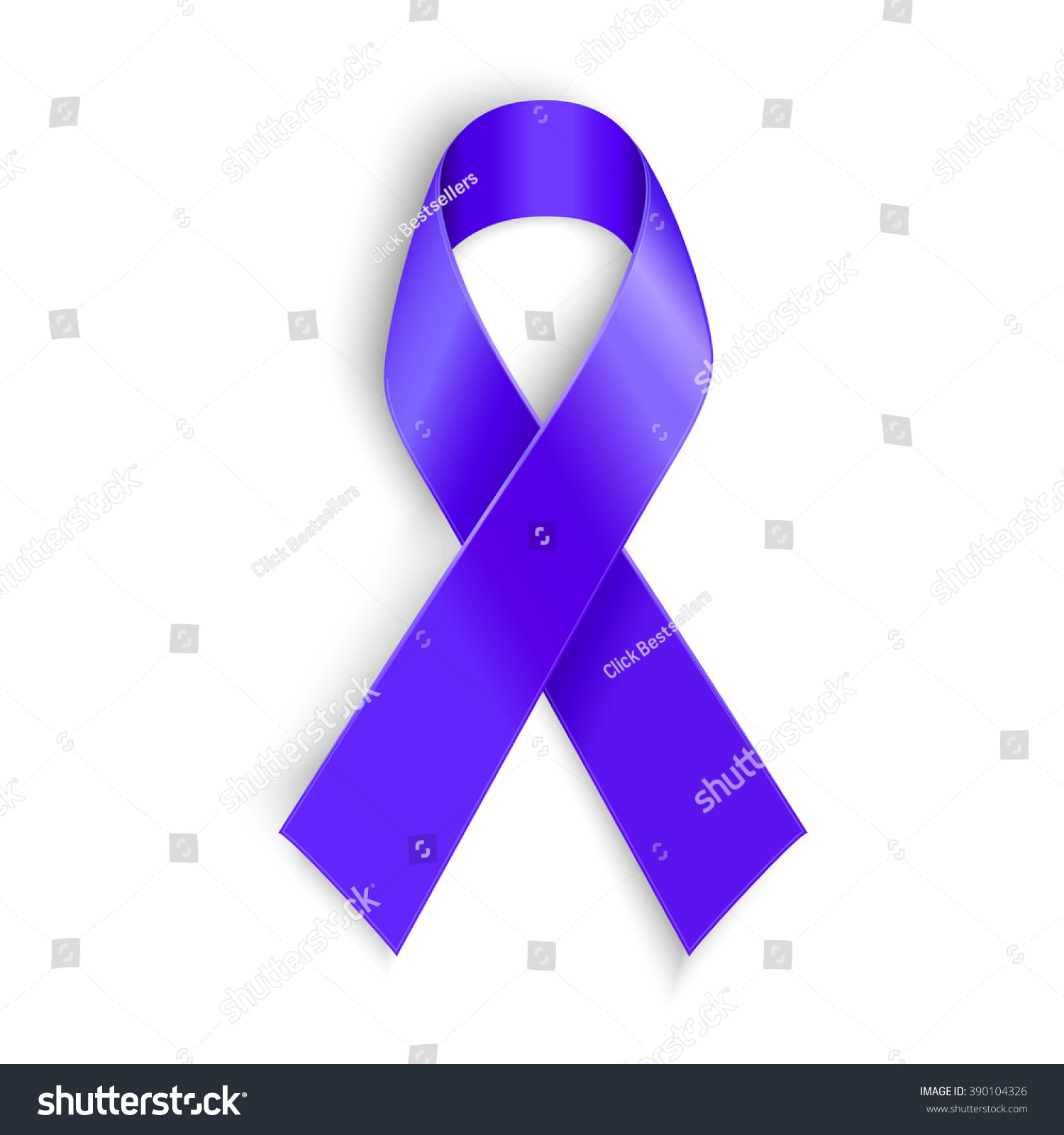 Purple Ribbon Symbol General Cancer Awareness Stock Illustration