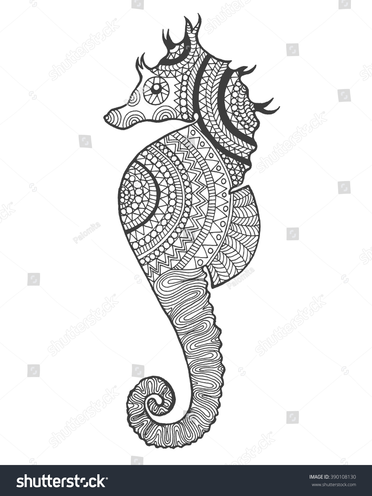 Zentangle Stylized Seahorse Hand Drawn Doodle Stock Photo (Photo ...