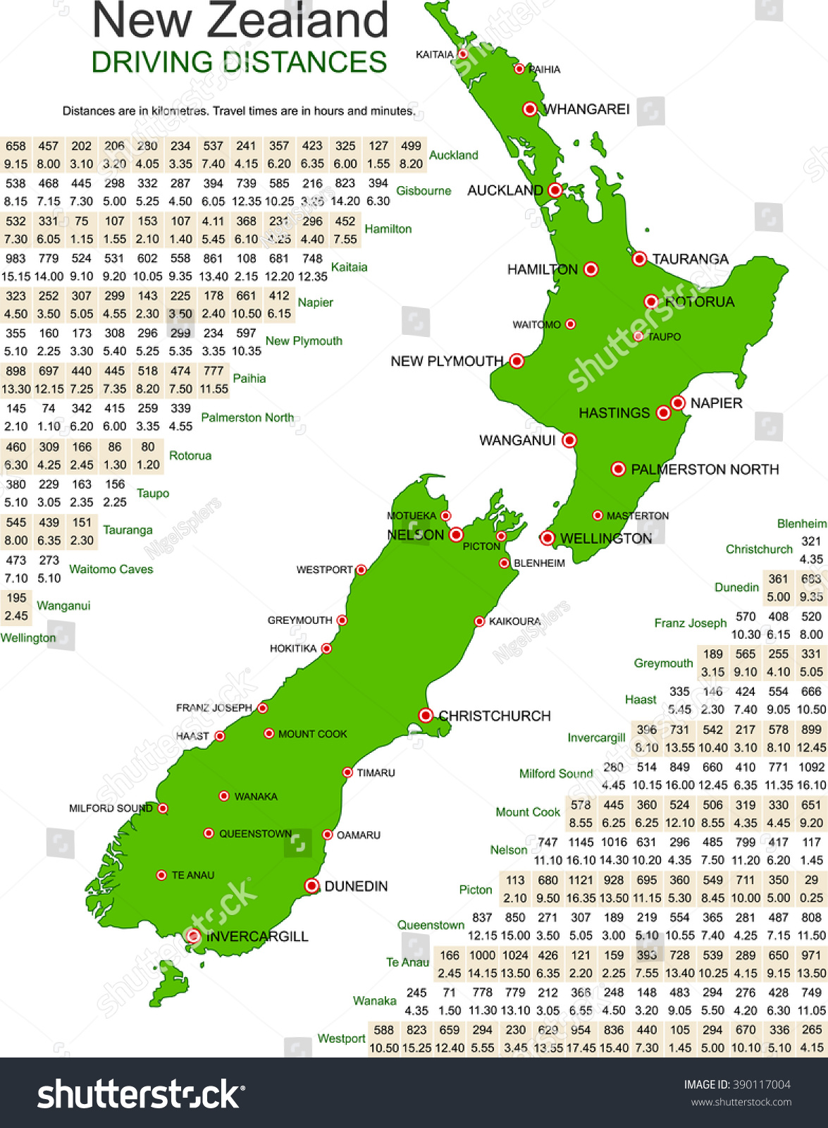 Detailed Green Map New Zealand On Stock Vector 390117004 Shutterstock