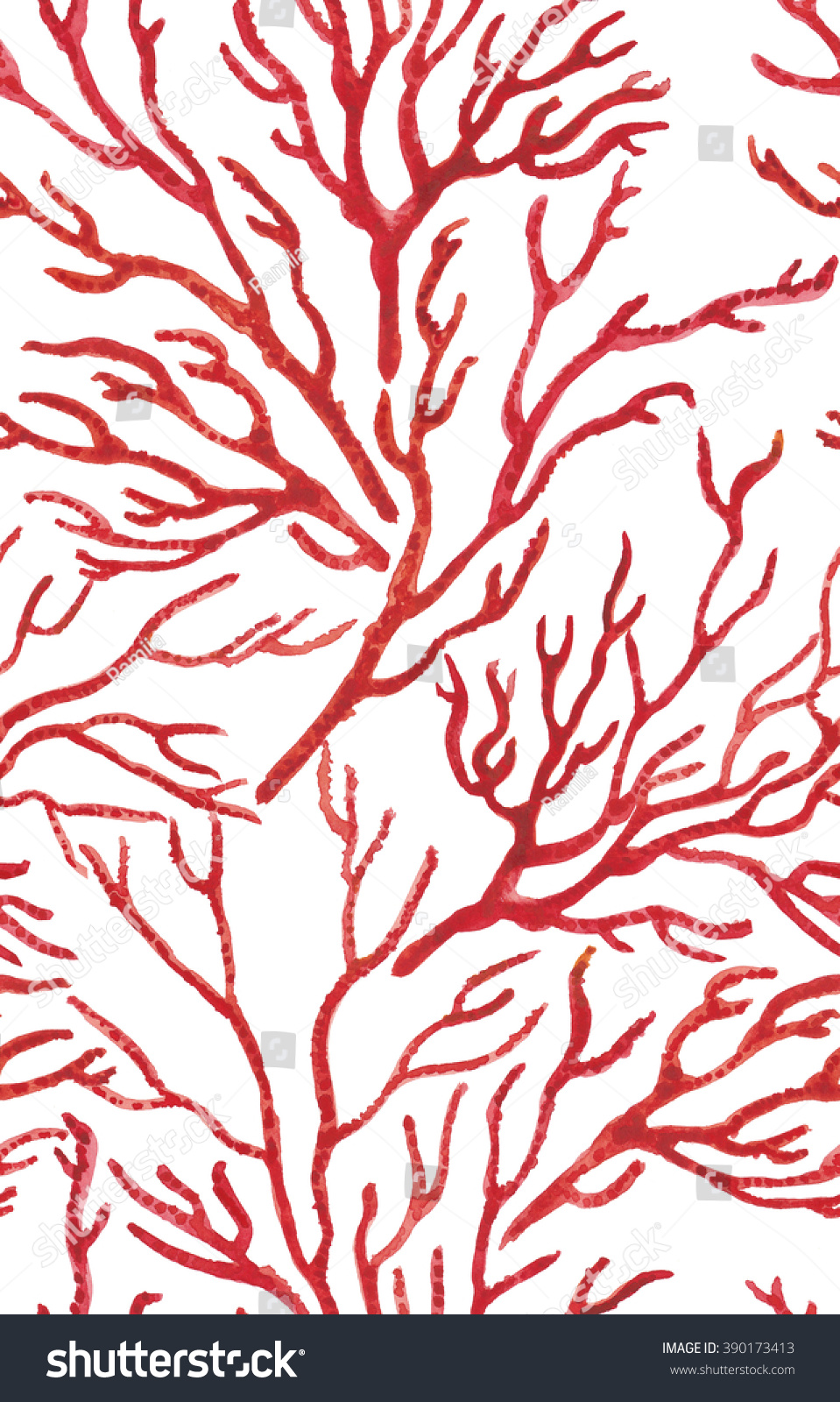 Red coral painting popular red coral print buy cheap red coral print - Watercolor Painting Seamless Sea Coral Print Pattern On White Background