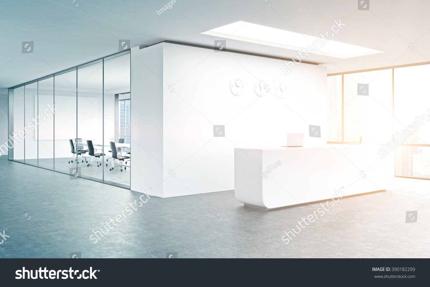 Stupendous Empty Office White Reception White Wall Stock Illustration Largest Home Design Picture Inspirations Pitcheantrous