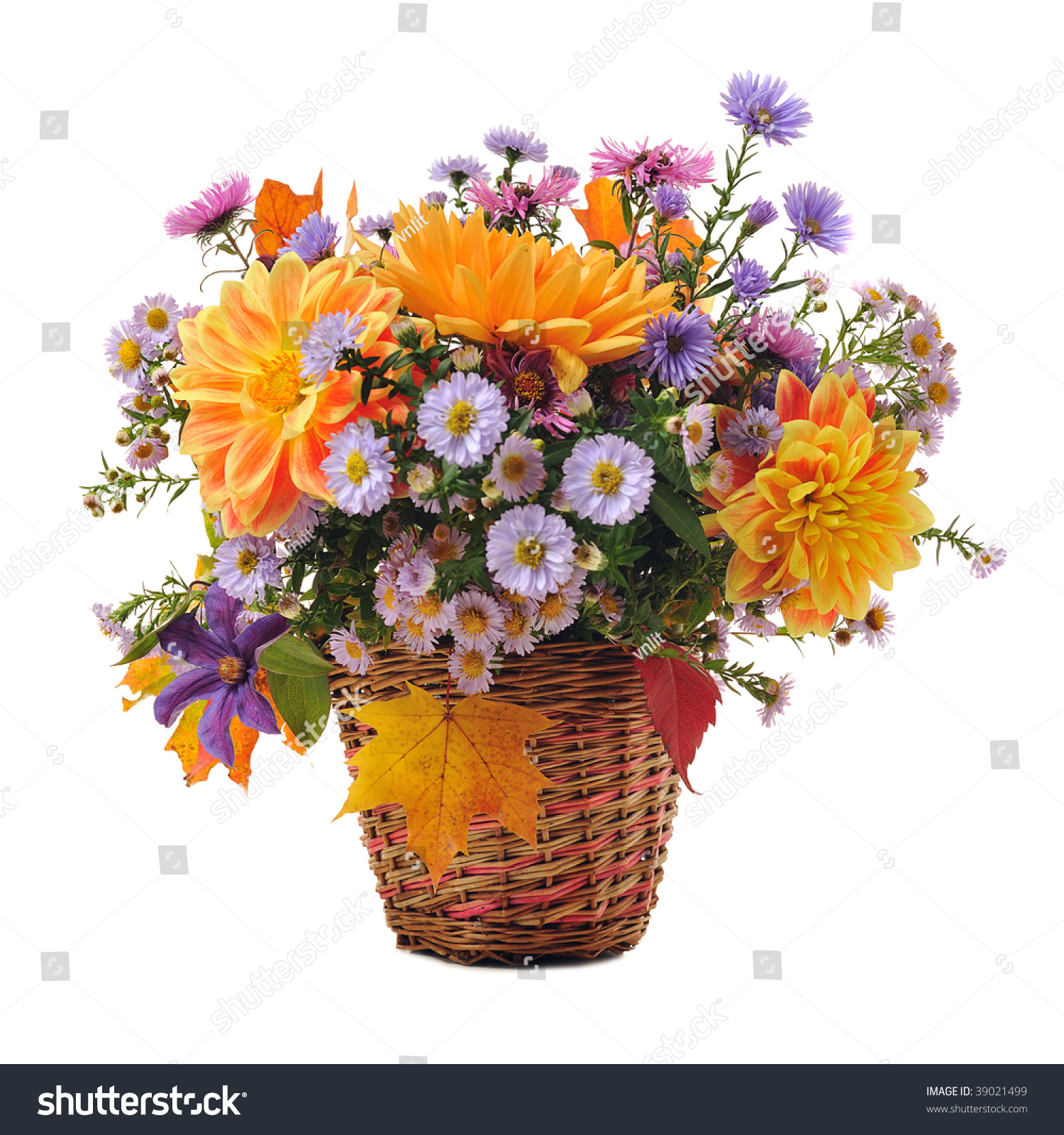 Bouquet Autumn Flowers Basket Isolated On Stock Photo Edit Now