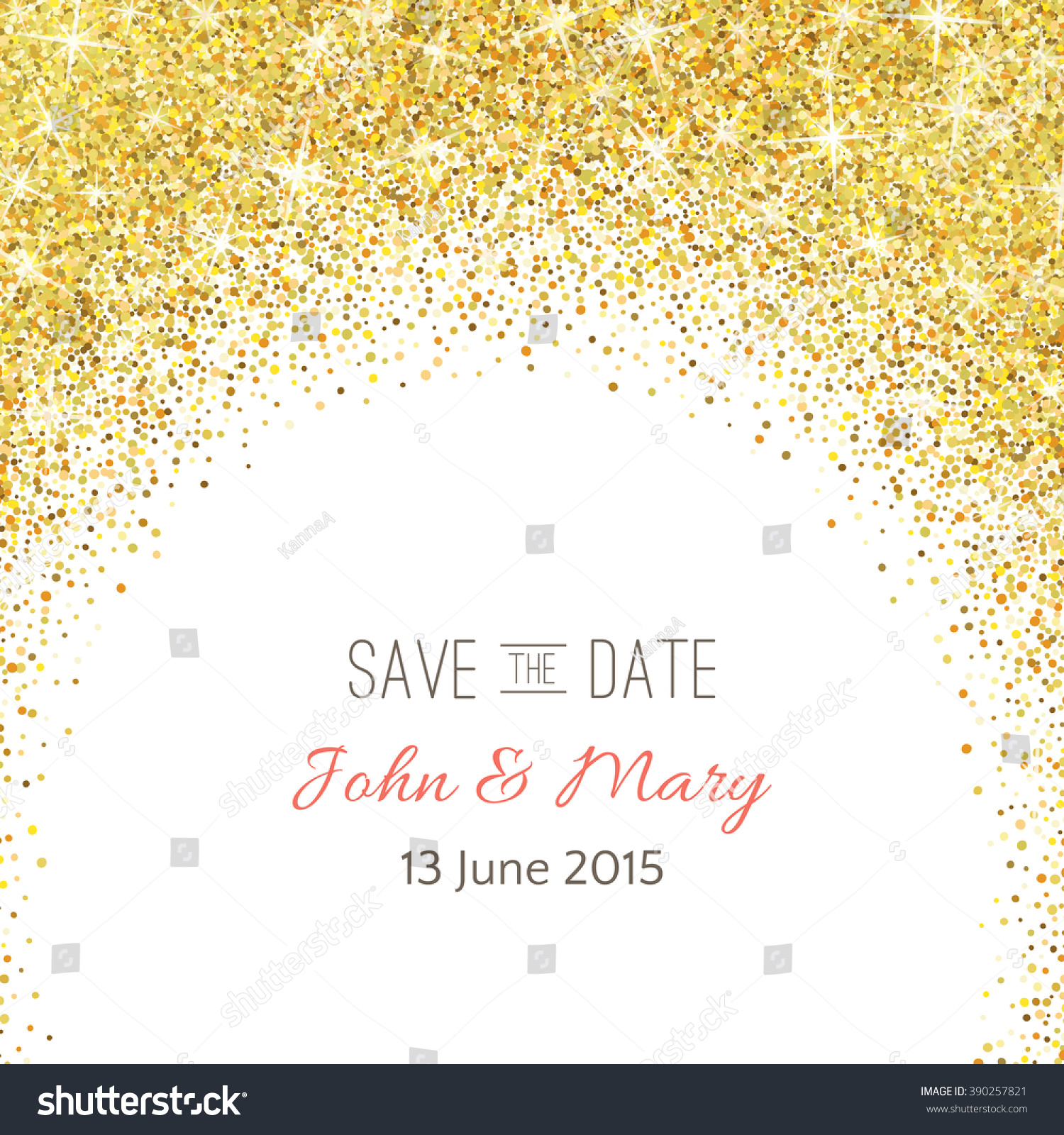 Perfect Wedding Template Golden Confetti Theme Stock Vector