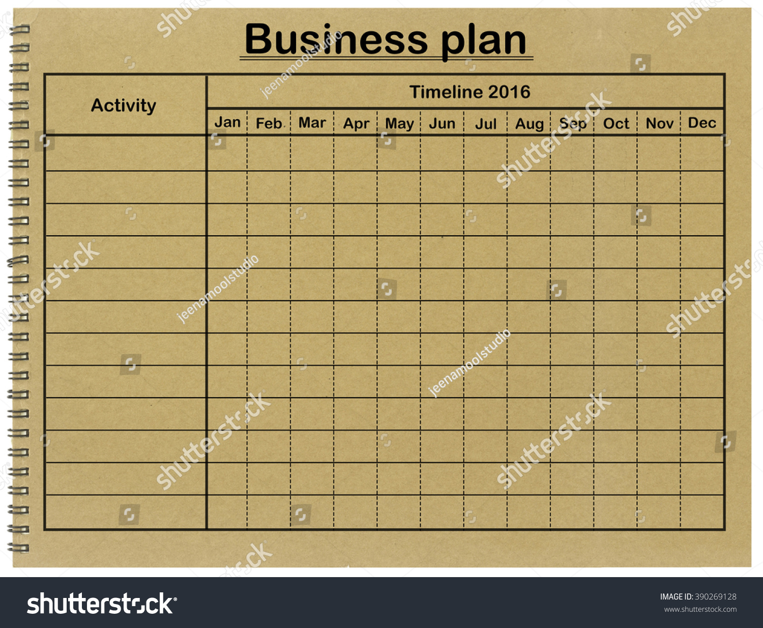 royalty free business plan grid timetable on 390269128 stock photo