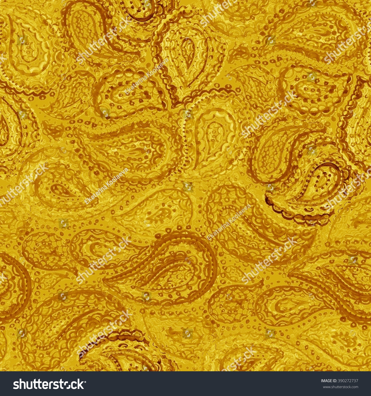 Gold Paisley Pattern Watercolor Ornate Floral Seamless Textile Wallpaper In Colorful Indian Style