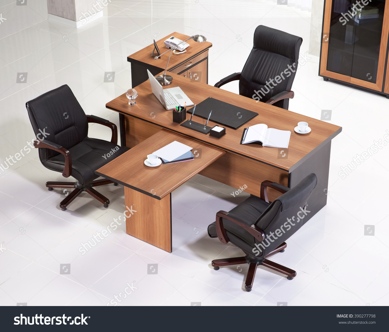 Office furniture top view - Office Furniture On A White Background Top View