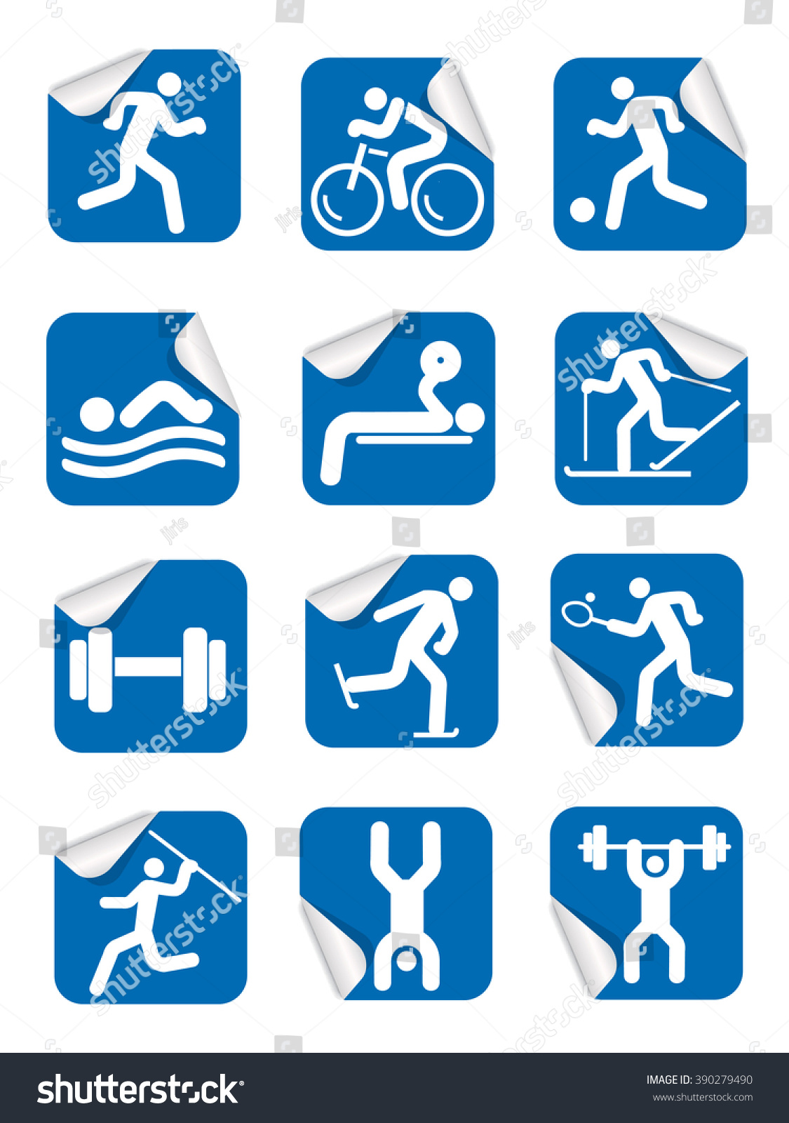 Stickers Fitness Sport Icons Set Blue Stock Vector Royalty Free