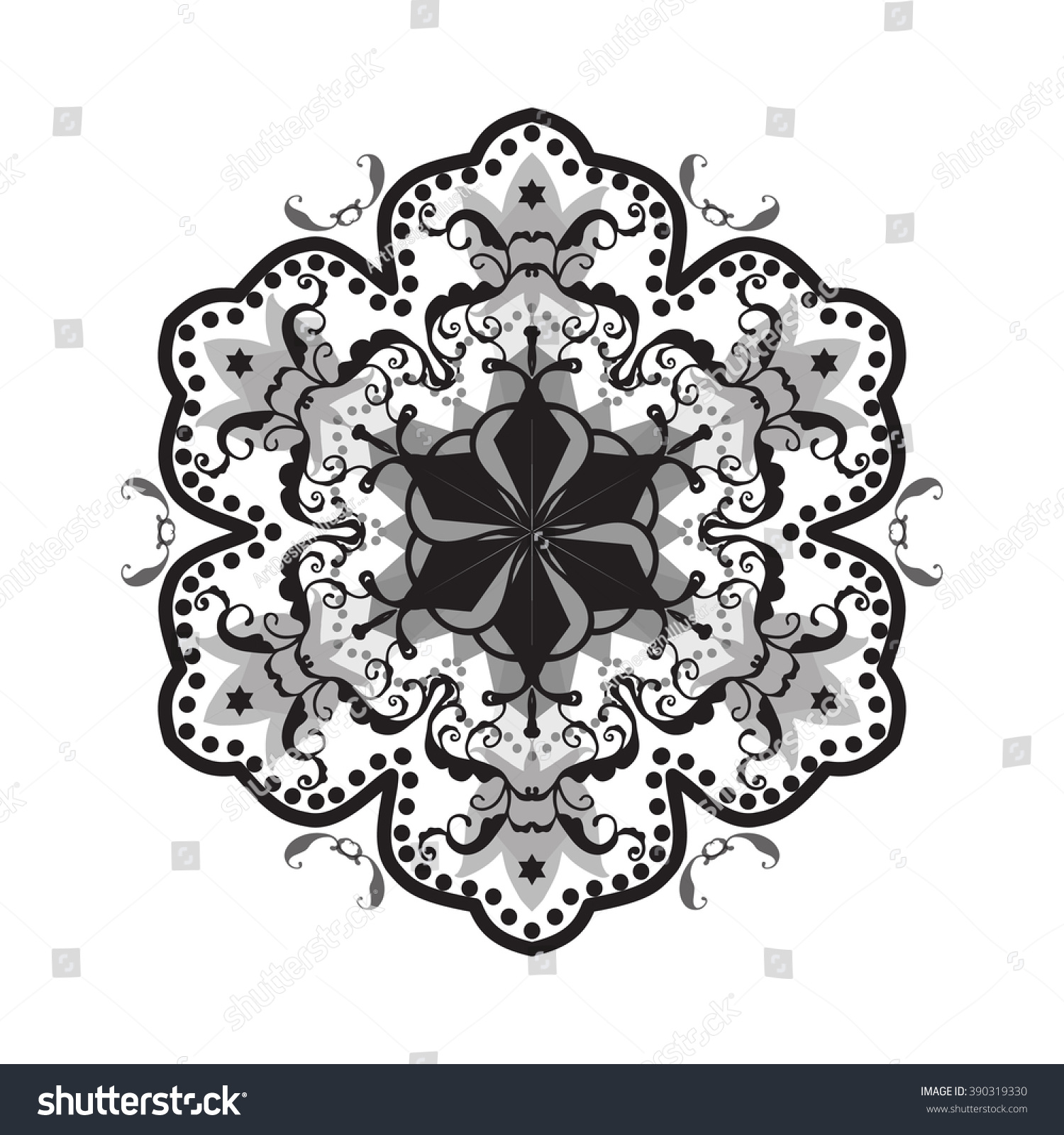 Mandala indian decorative floral pattern ethnic ornament illustration black lotus flower rangoli ornament isolated
