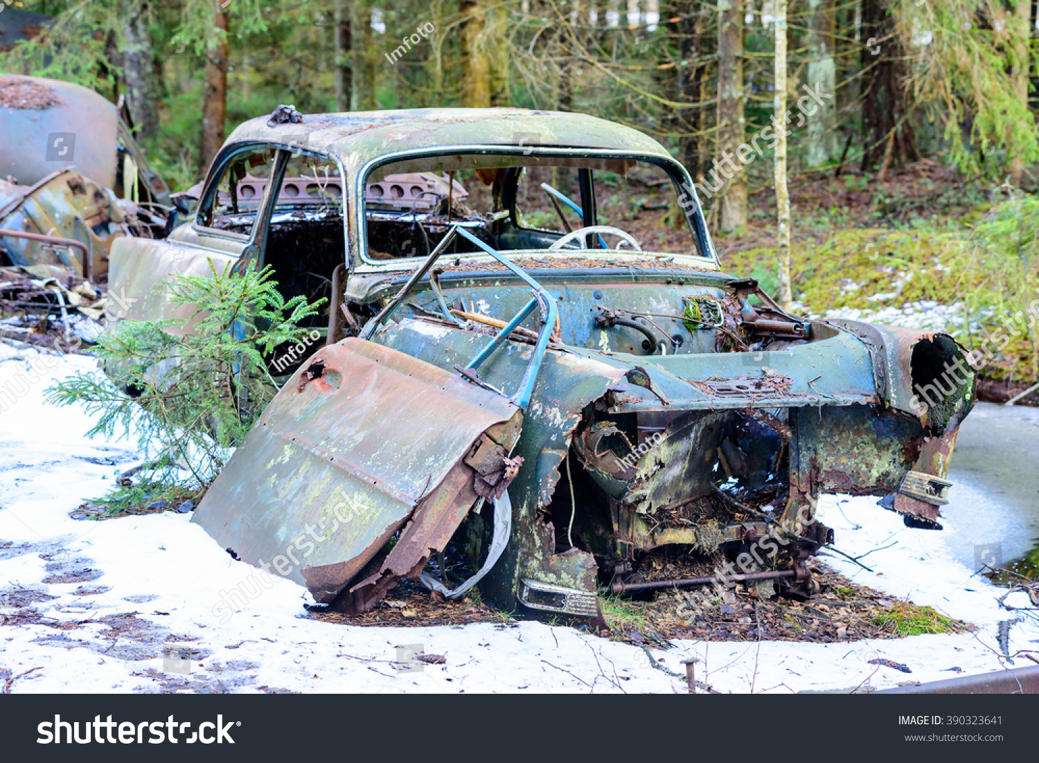 Old Very Degraded Junk Car Left Stock Photo (100% Legal Protection ...