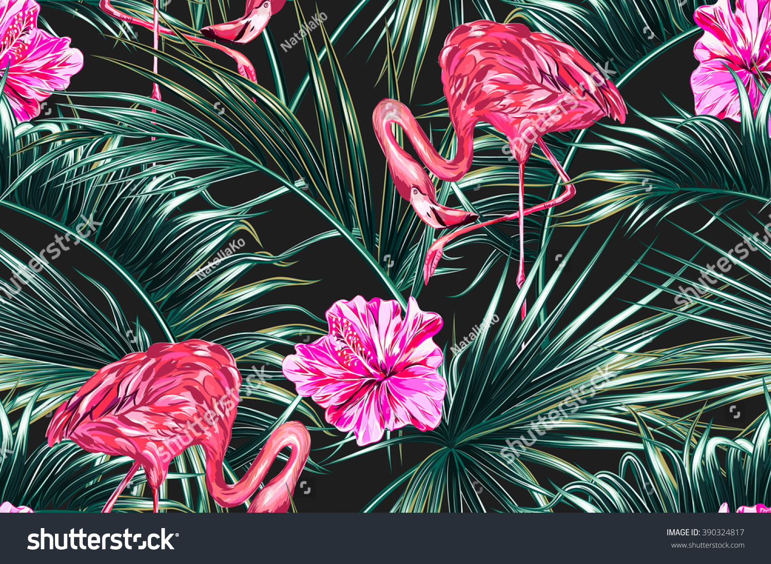 Pink Flamingos Tropical Flowers Palm Leaves 390324817