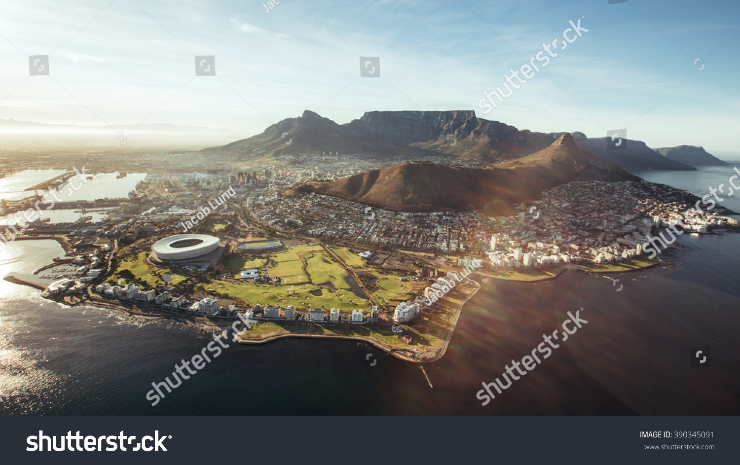 stock photo aerial view of cape town with cape town stadium lion s head and table mountain 390345091 - asdasd