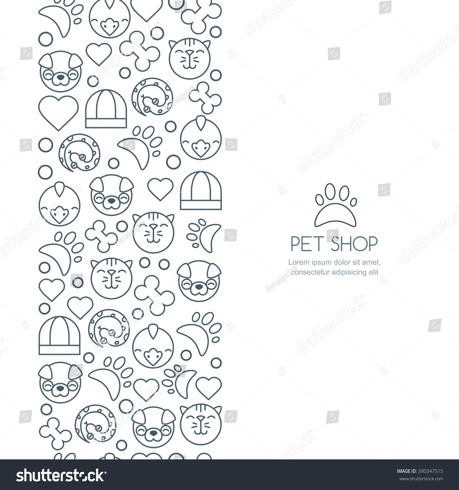 vector seamless vertical background outline icons of cat save to a lightbox